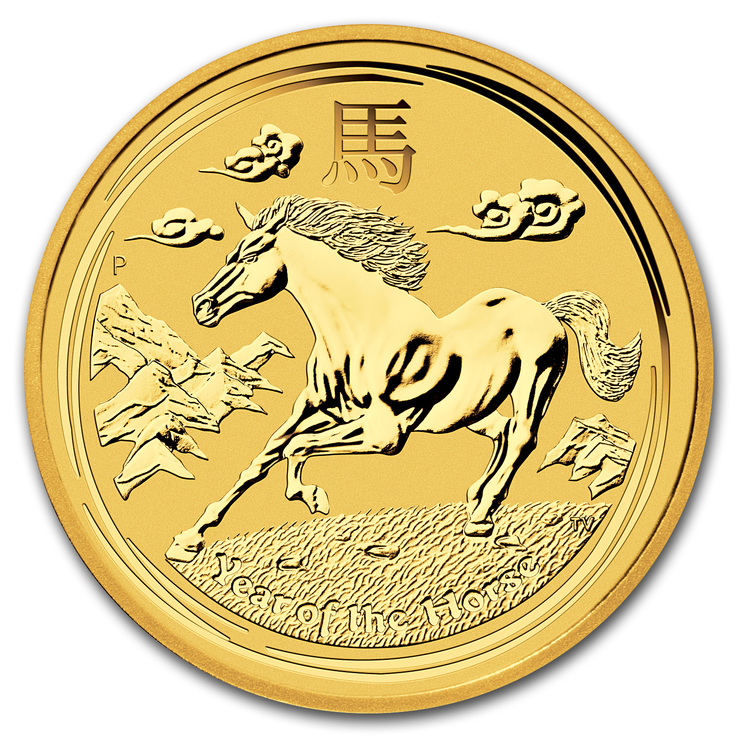 2014 2 oz Gold Lunar Year of the Horse BU (Series II)