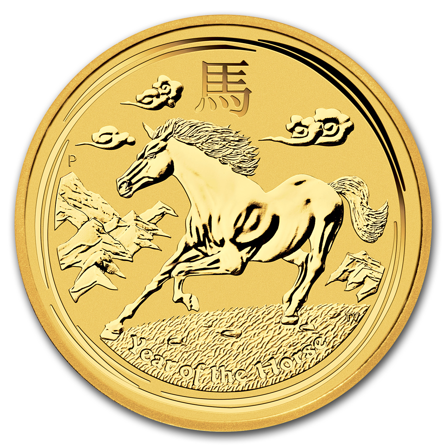 2014 1/4 oz Gold Lunar Year of the Horse BU (Series II)