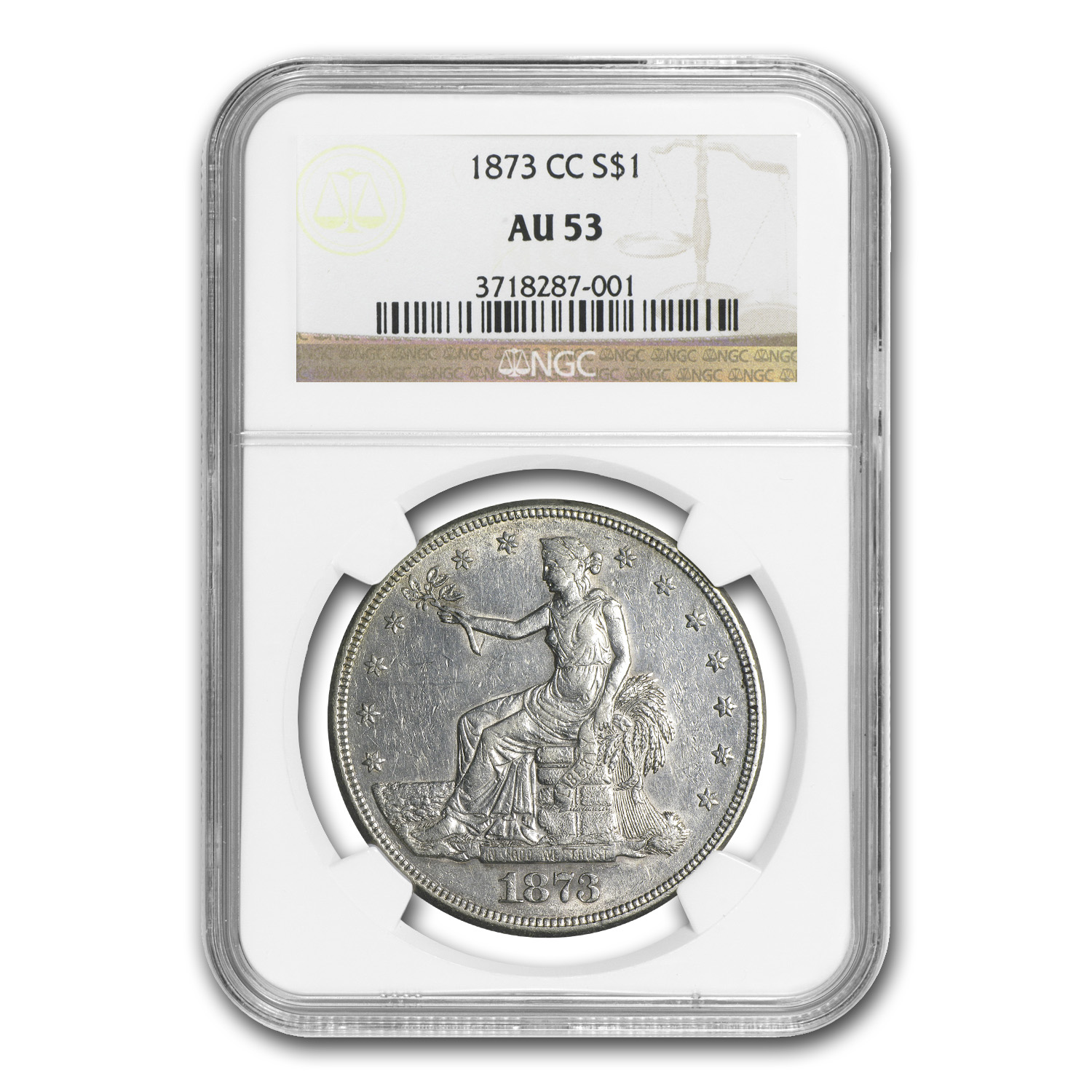 1873-CC Trade Dollar Almost Uncirculated-53 NGC