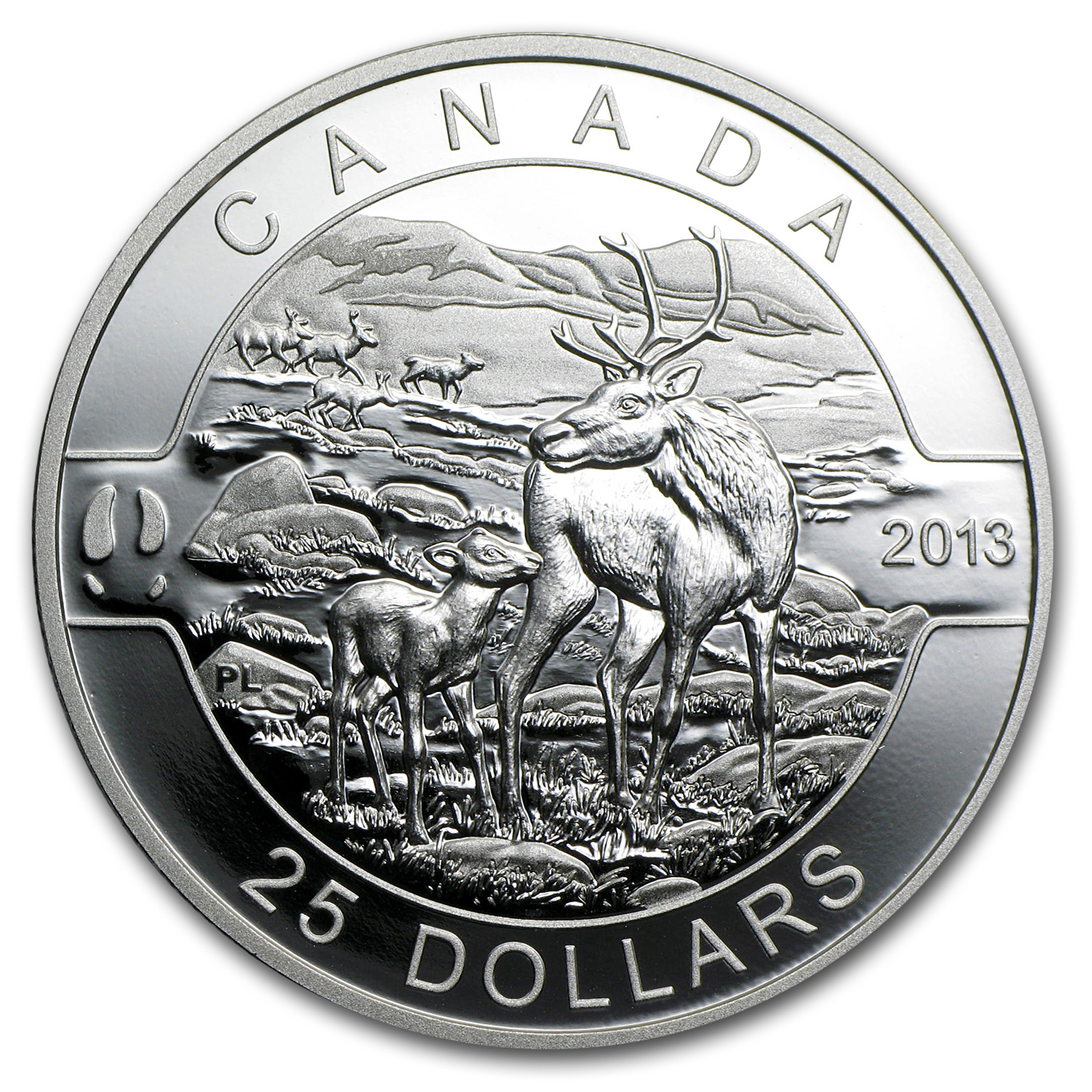 2013 1 oz Silver Canadian $25 Coin - The Caribou