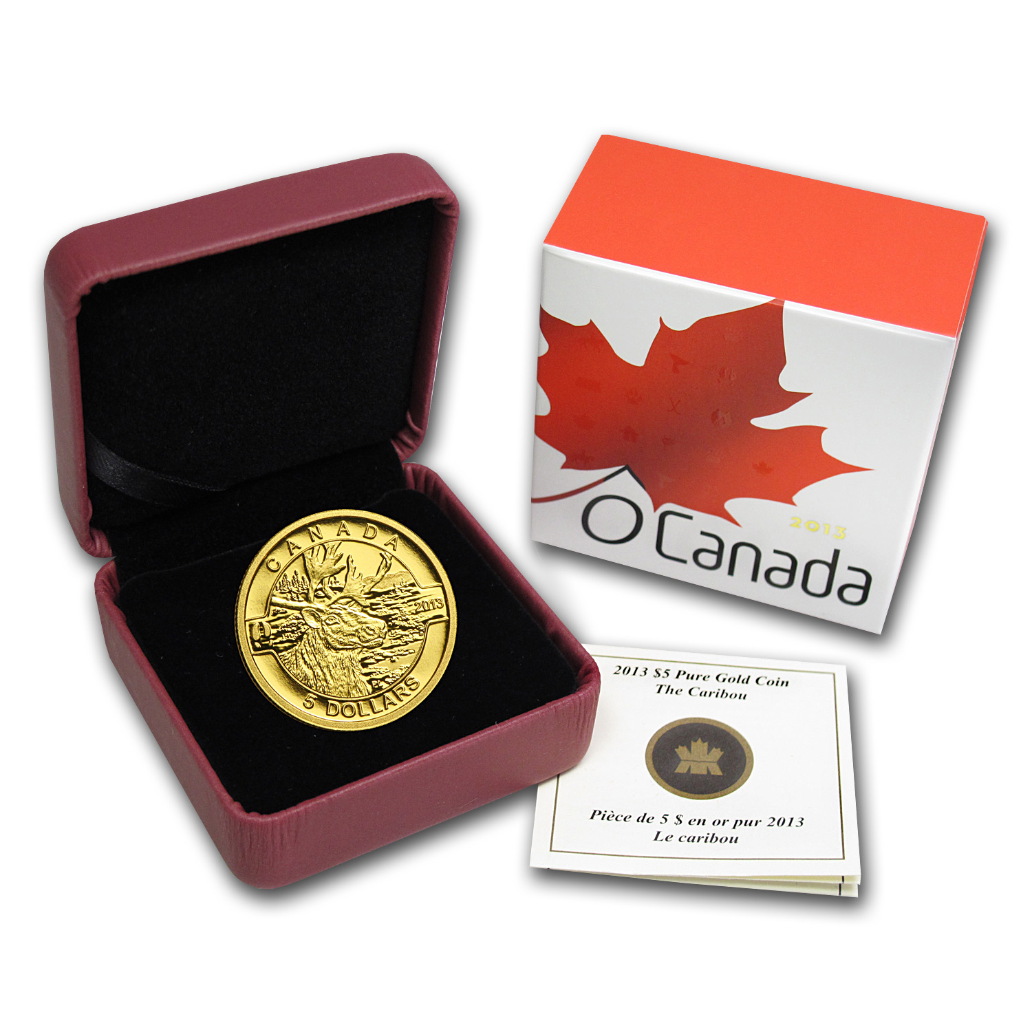 2013 1/10 oz Gold Canadian $5 The Caribou Proof