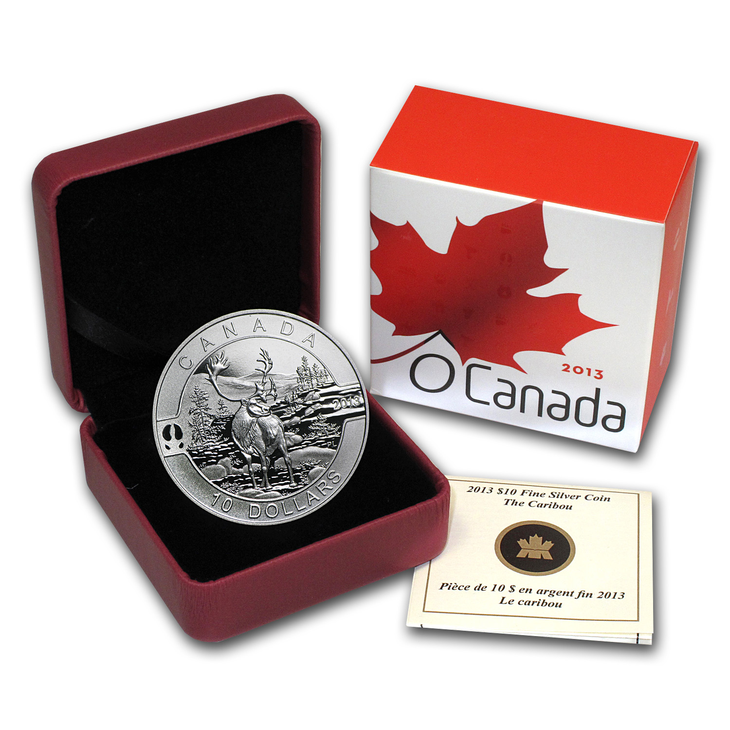 2013 Canada 1/2 oz Silver $10 The Caribou (w/Box & COA)