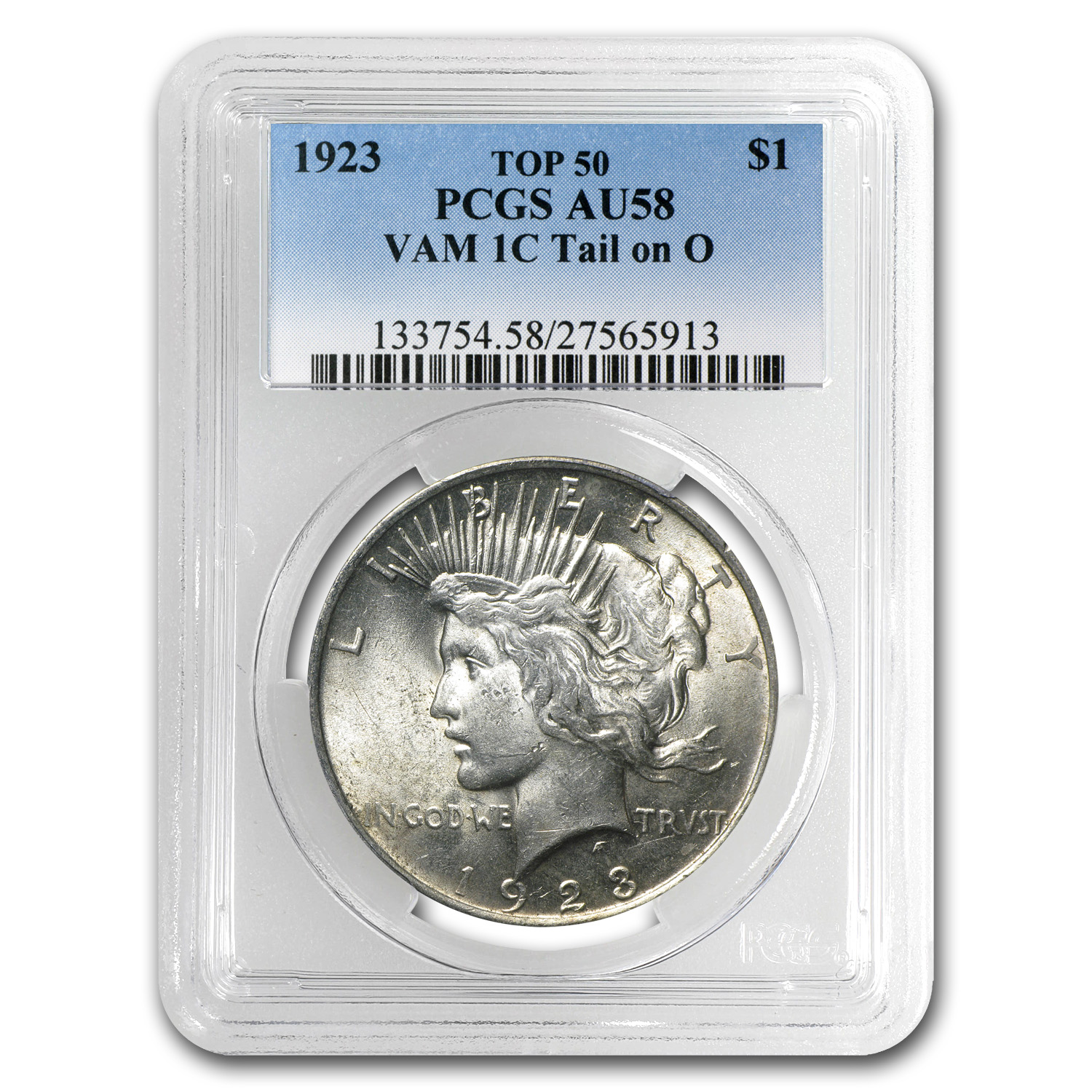 1923 Peace Dollar AU-58 PCGS (VAM-1C Tail On O LDS, Top-50)