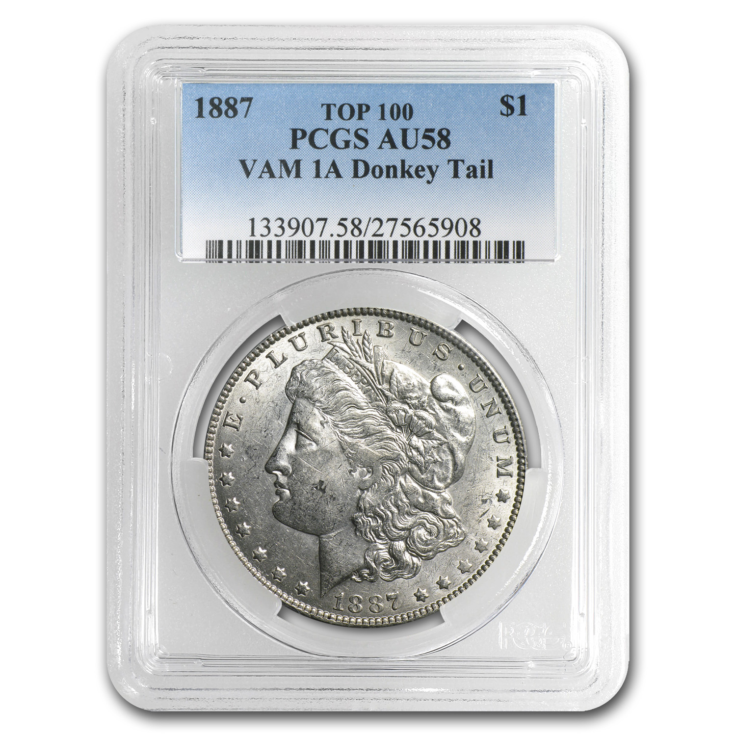 1887 Morgan Dollar AU-58 PCGS VAM-1A Donkey Tail Top-100