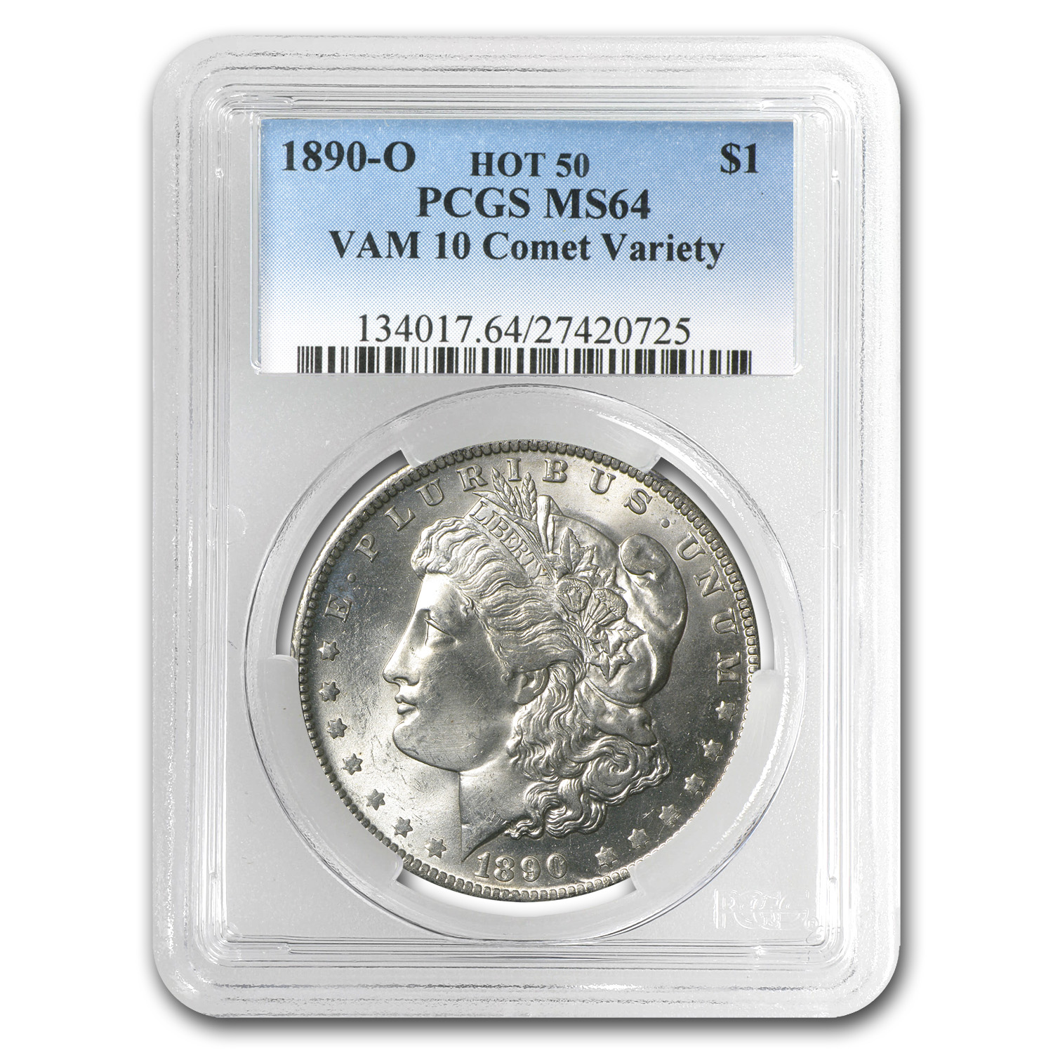 1890-O Morgan Dollar MS-64 PCGS (VAM-10, Comet Variety, Hot-50)