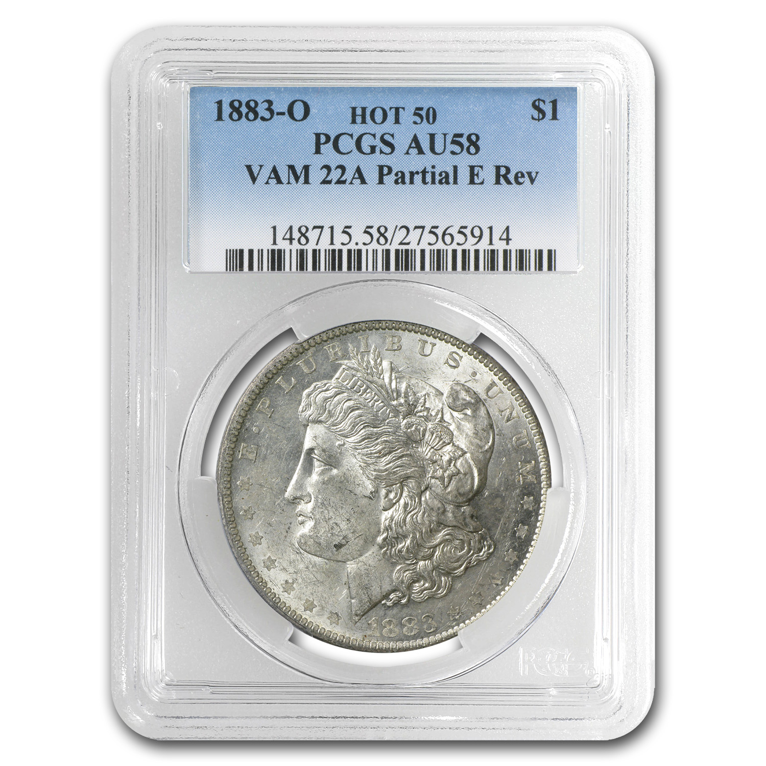 1883-O Morgan Dollar AU-58 PCGS VAM-22A Partial E on Rev Hot-50
