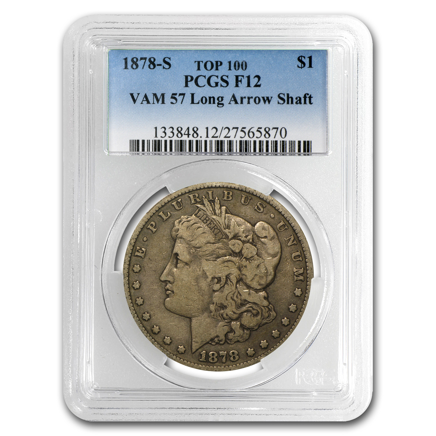 1878-S Morgan Dollar Fine-12 PCGS (VAM-57, Long Nock, Top-100)