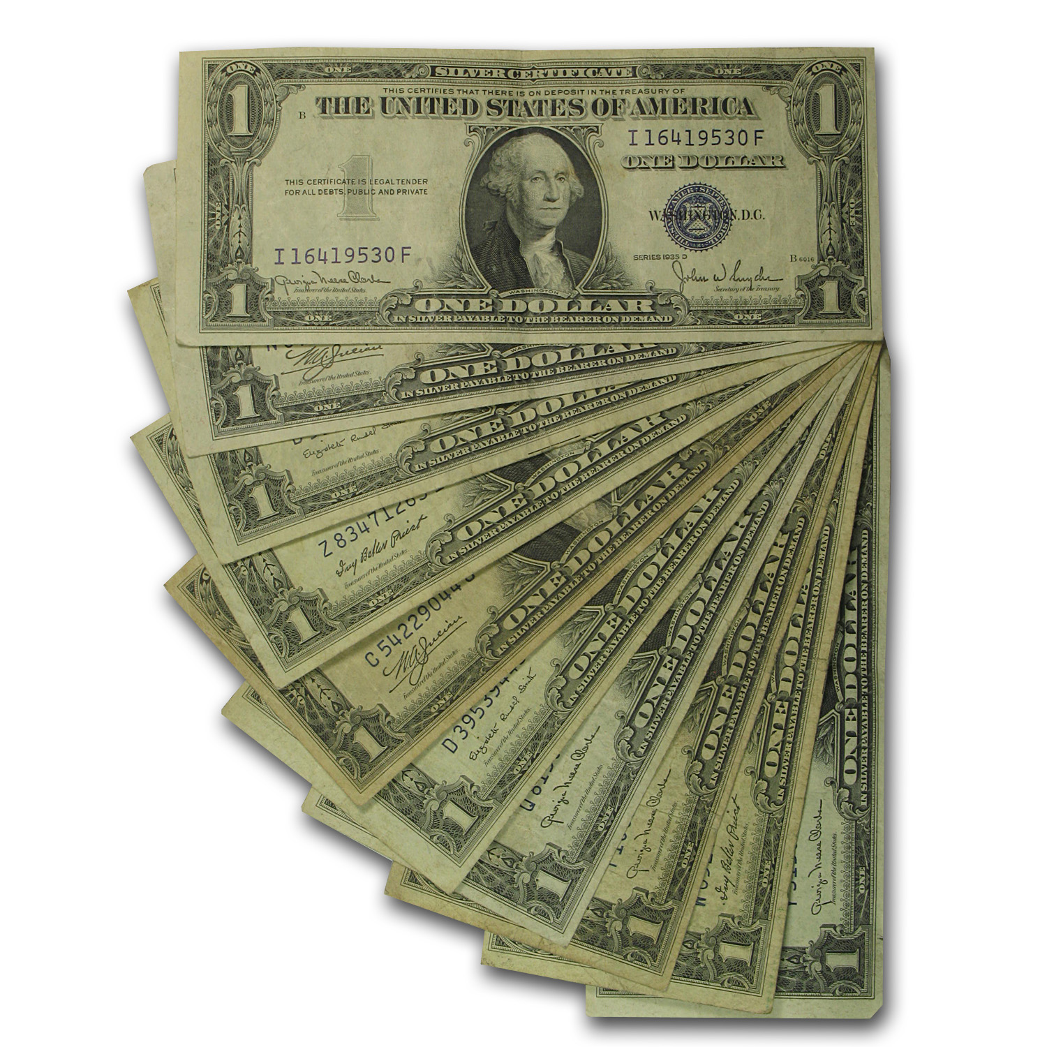 1935s $1.00 Silver Certificates VG/VF (Lot of 10)