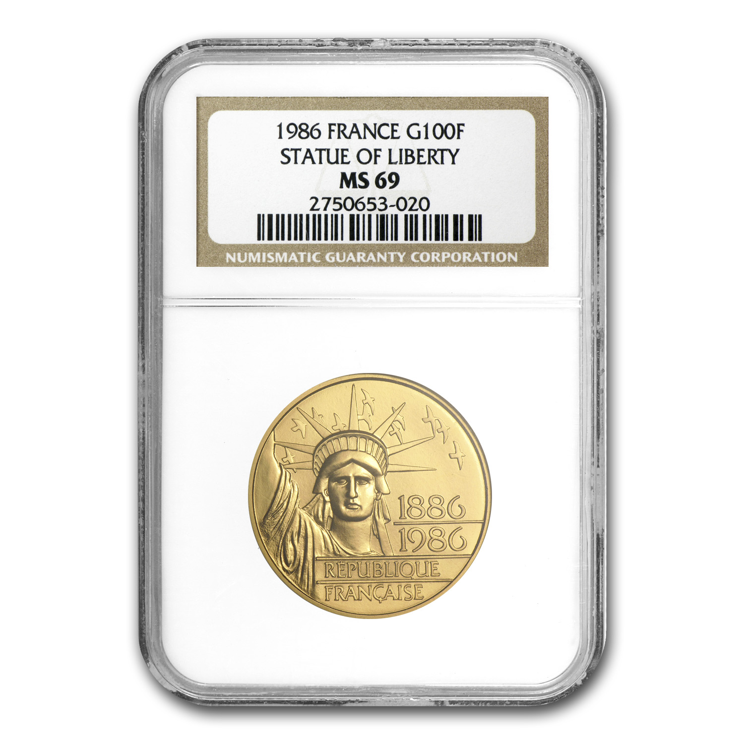 1986 France Gold 100 Francs SOL MS-69 NGC