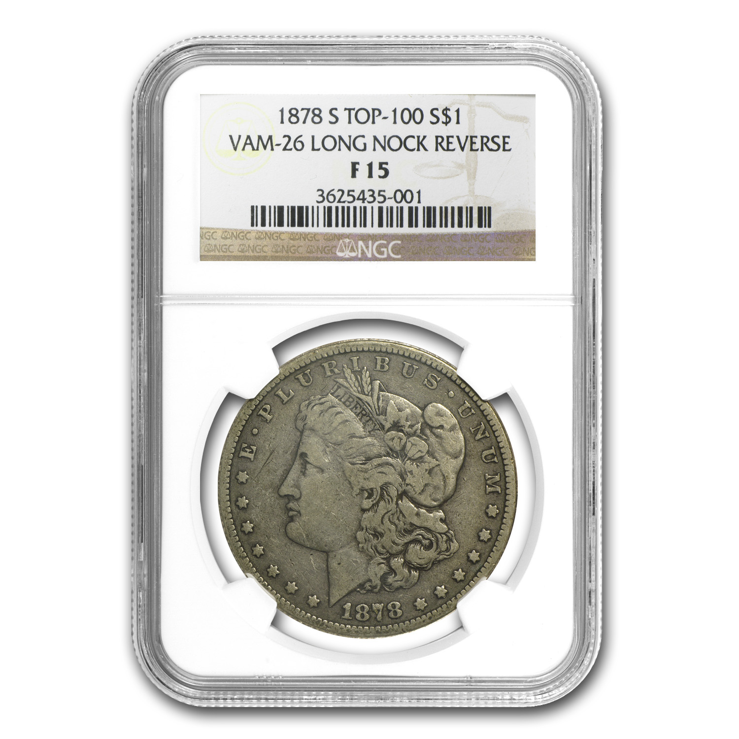 1878-S Morgan Dollar F-15 NGC (VAM-26, Long Nock Rev, Top-100)