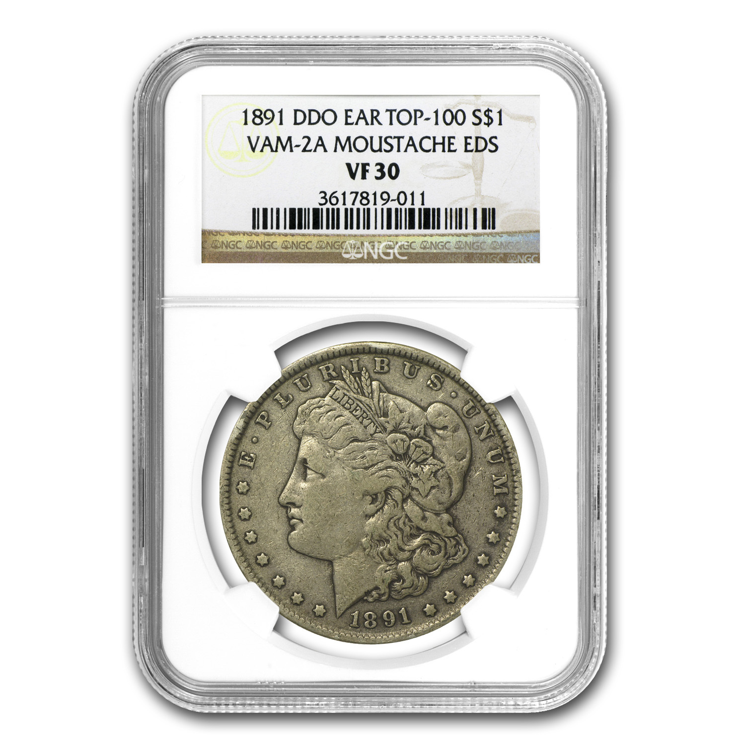 1891 Morgan Dollar VF-30 NGC VAM-2A Moustache Top-100