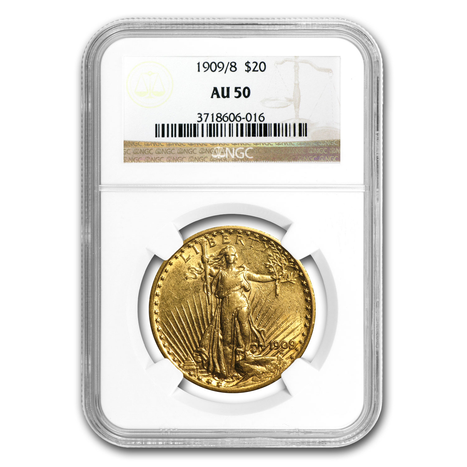 1909/8 $20 Saint-Gaudens Gold Double Eagle Overdate AU-50 NGC
