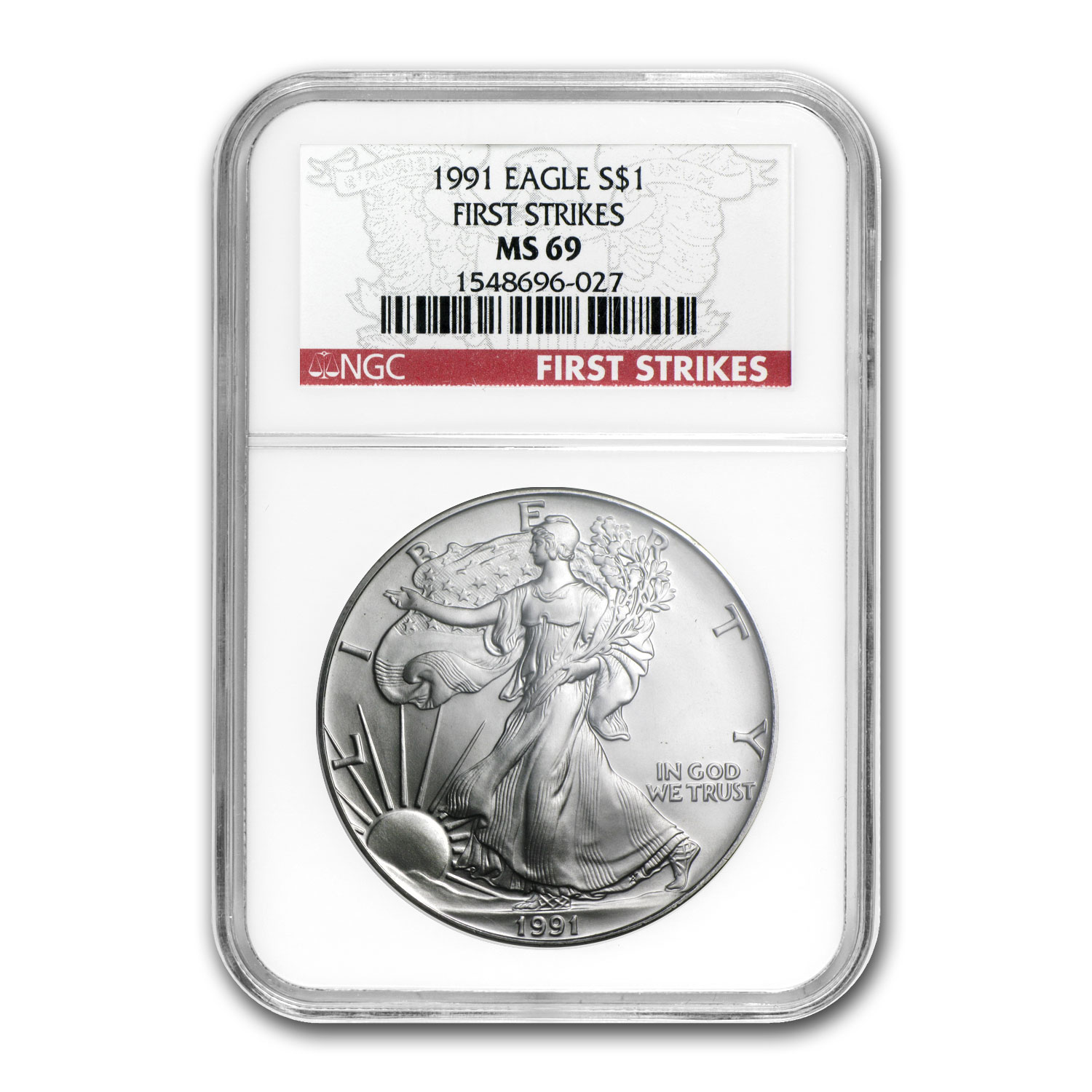 1991 Silver American Eagle MS-69 NGC (First Strike)
