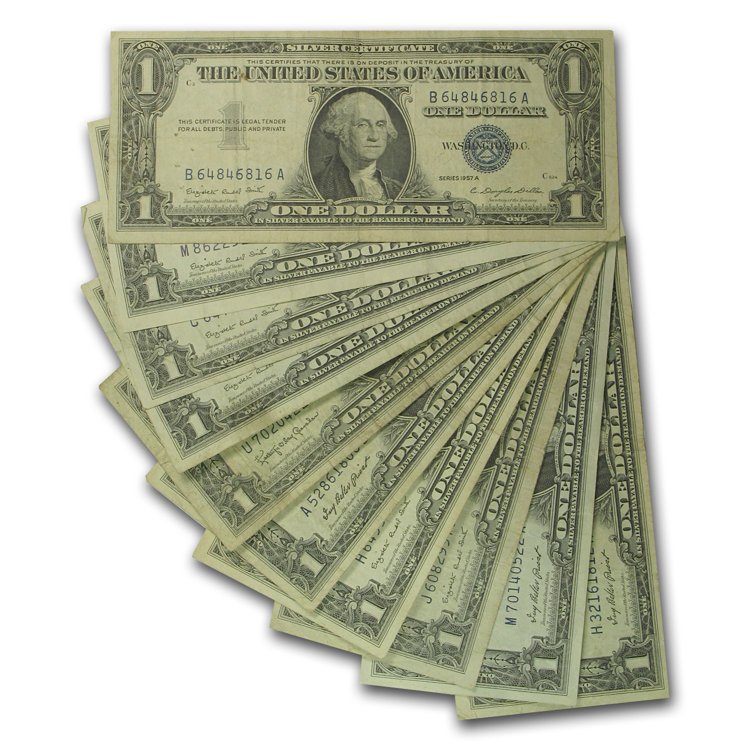 1957's $1 Silver Certificates (Lot of 10) VG - VF