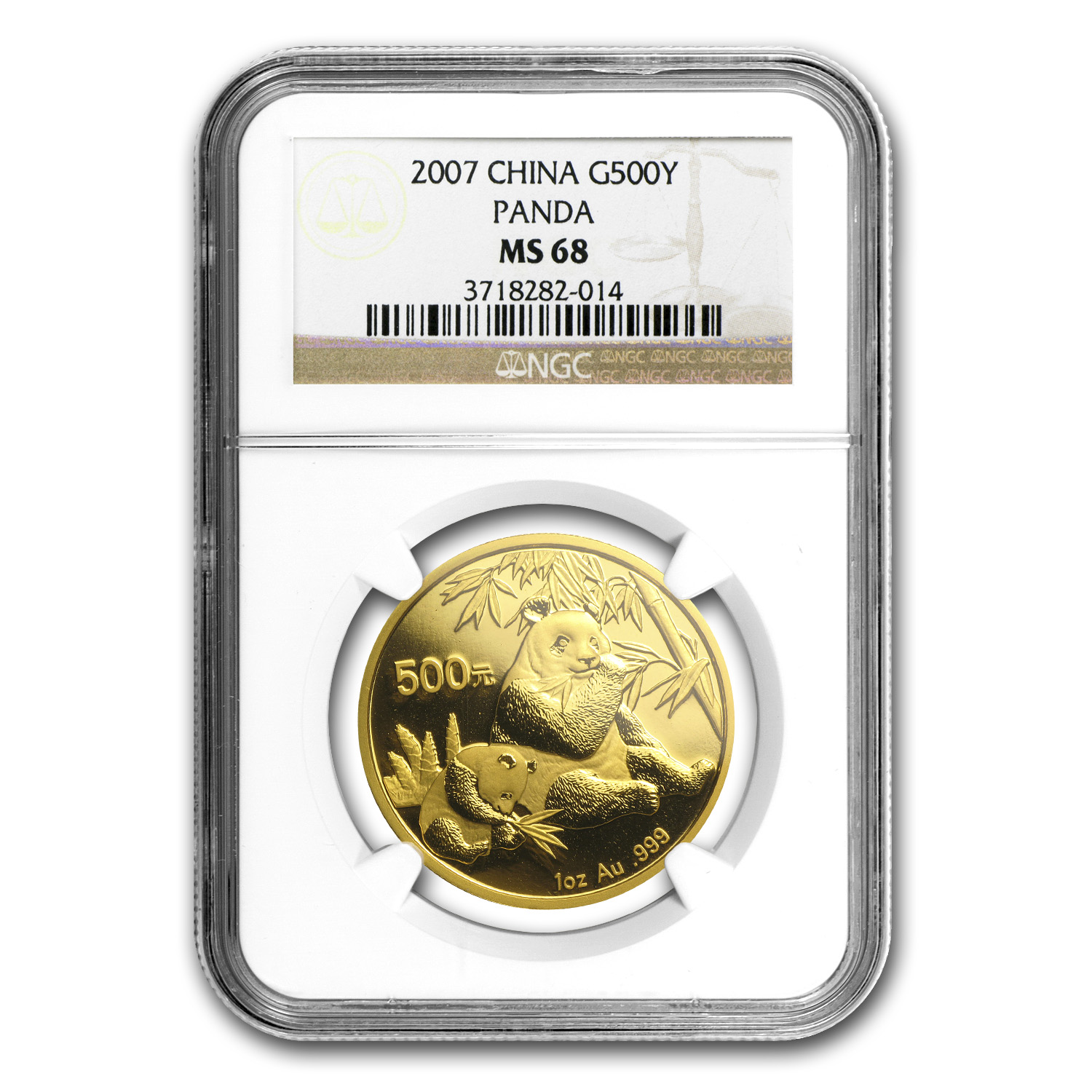 2007 China 1 oz Gold Panda MS-68 NGC