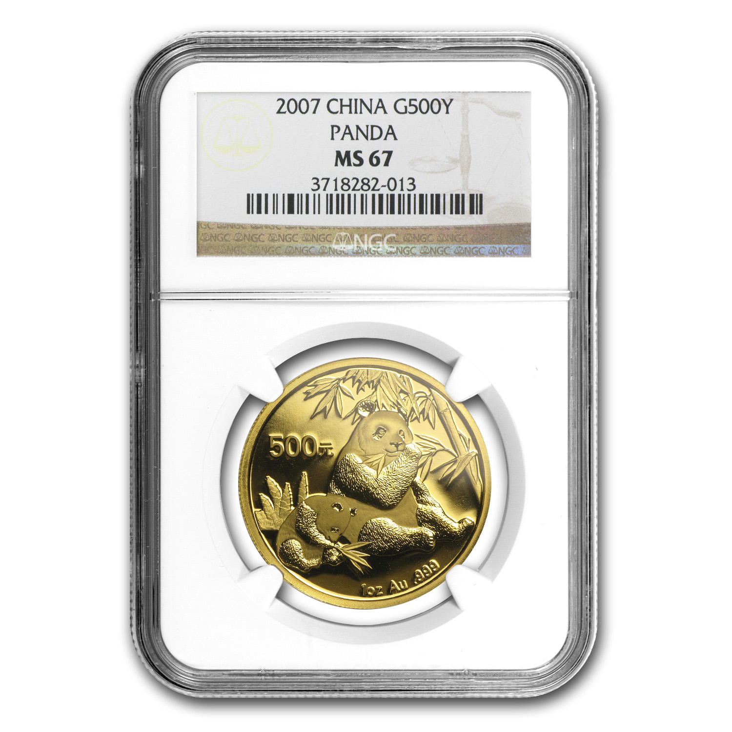 2007 China 1 oz Gold Panda MS-67 NGC