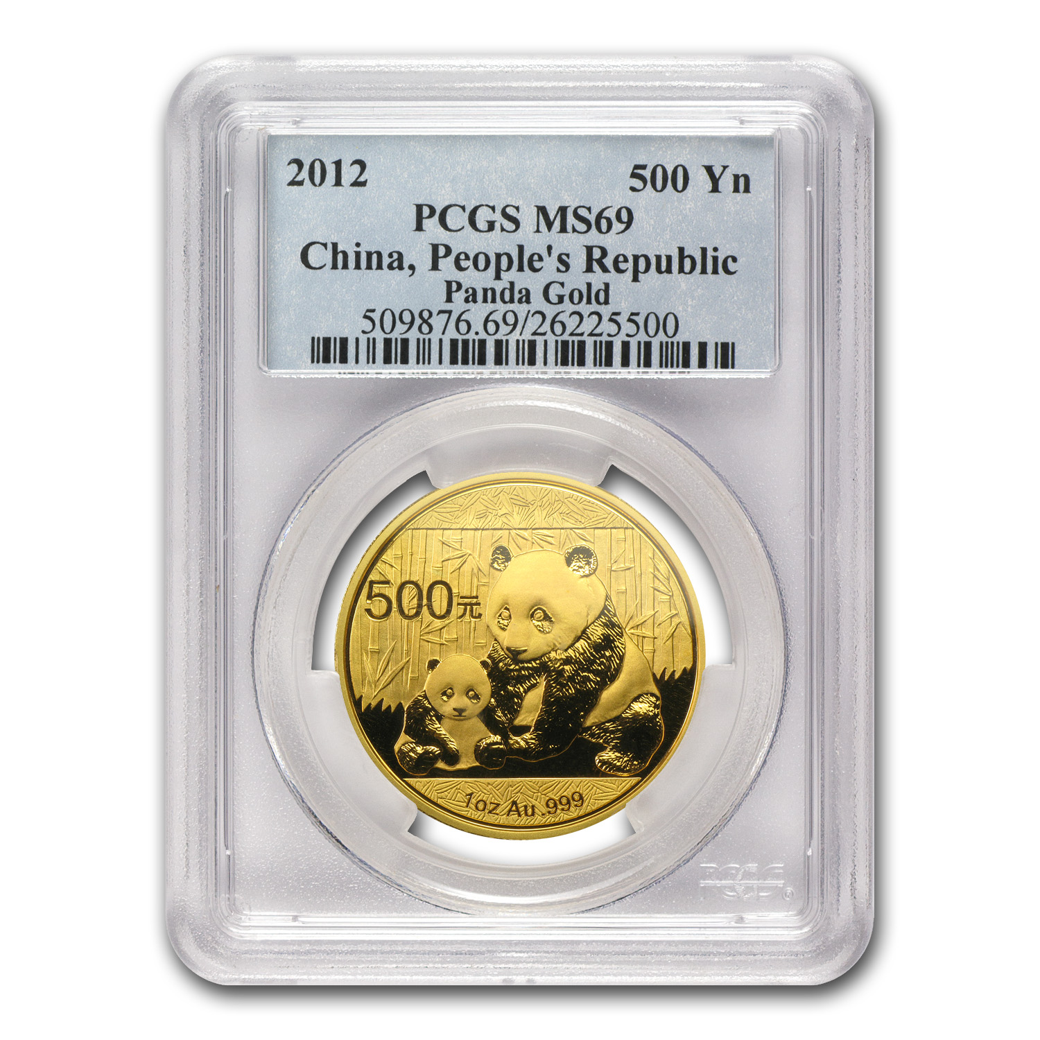 2012 China 1 oz Gold Panda MS-69 PCGS