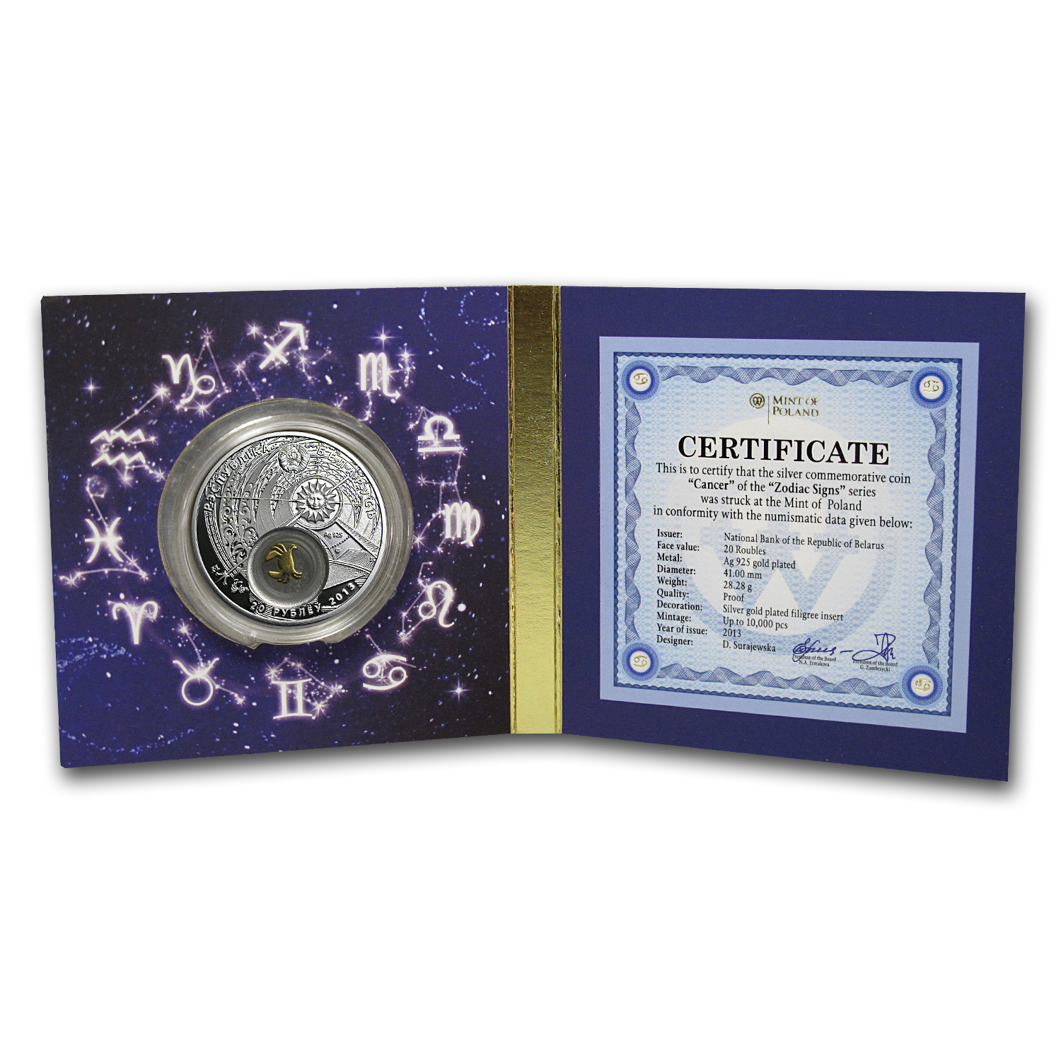 2013 Belarus Silver Proof 20 Rubles Zodiac Signs Cancer