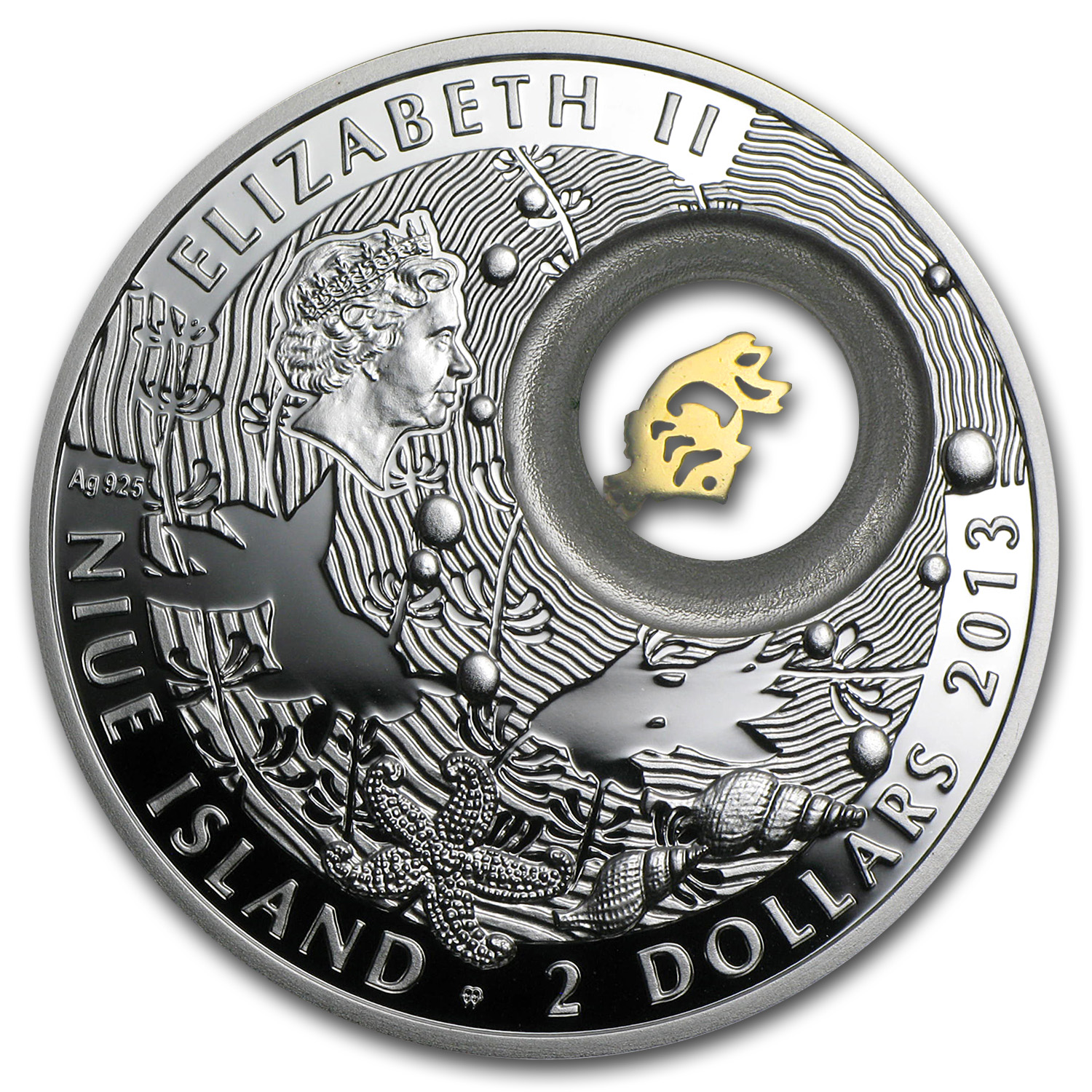 Niue 2013 Proof Silver $2 Lucky Coins Series - Goldfish