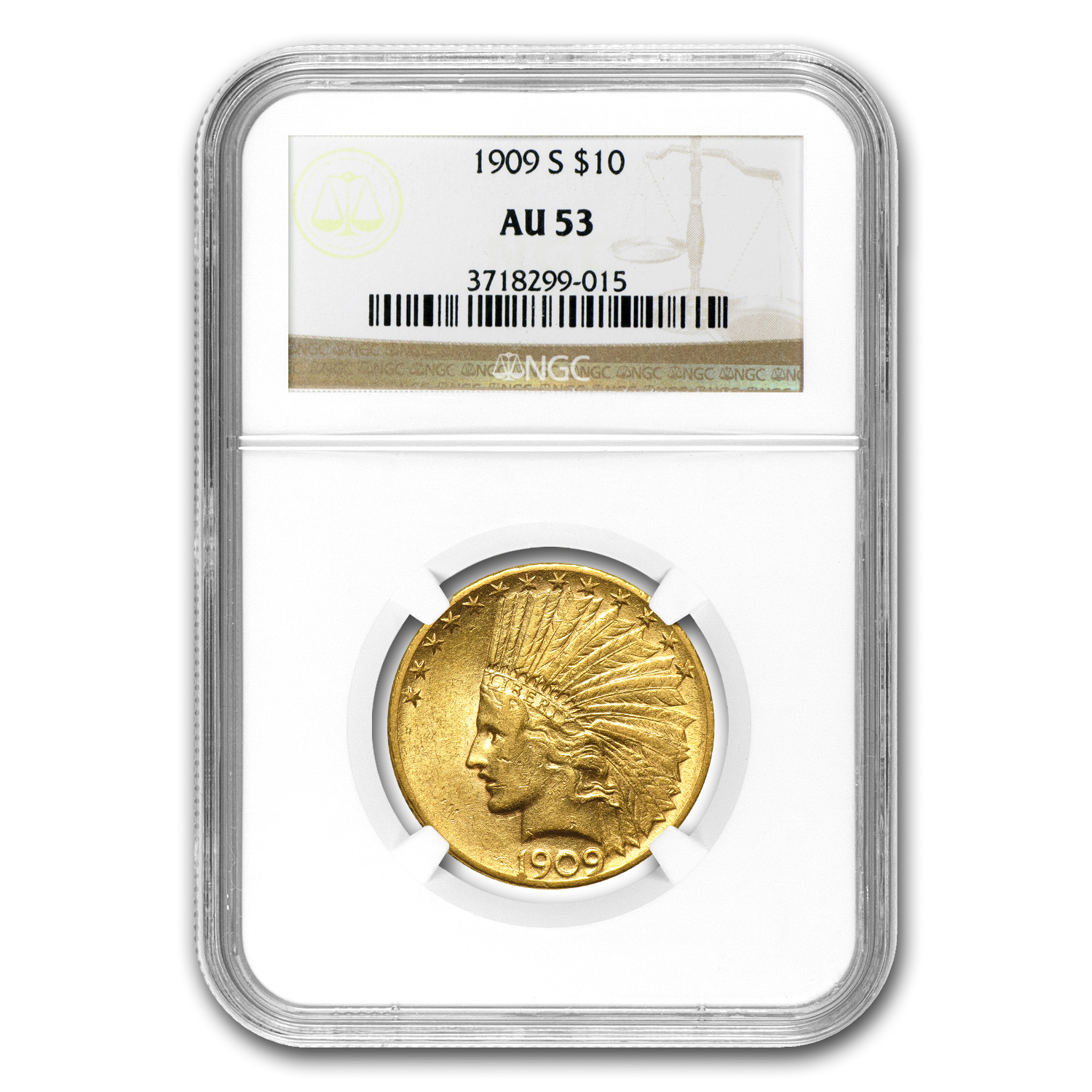 1909-S $10 Indian Gold Eagle - AU-53 NGC