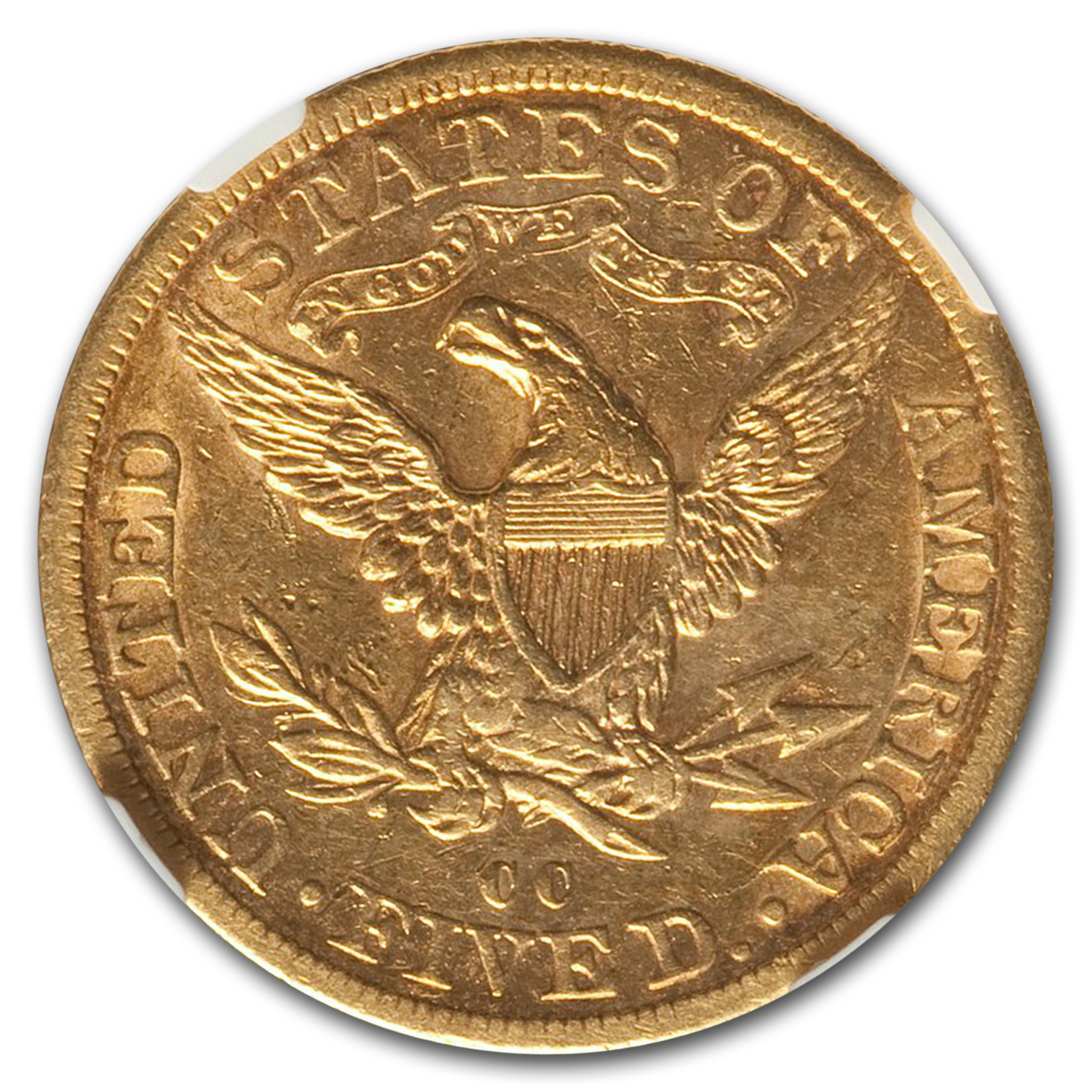 1892-CC $5 Liberty Gold Half Eagle AU-55 NGC