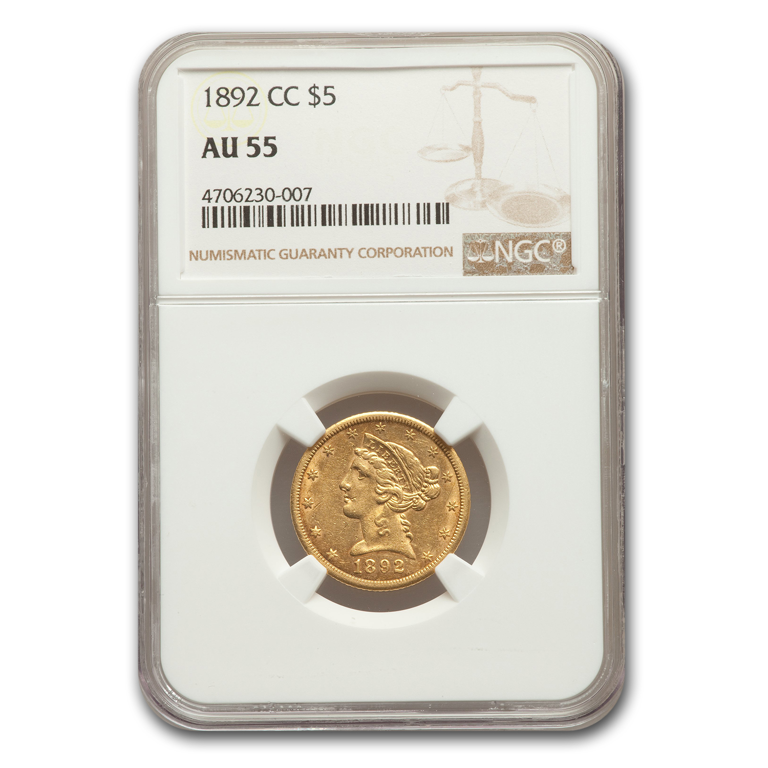 1892-CC $5 Liberty Gold Half Eagle - AU-55 NGC