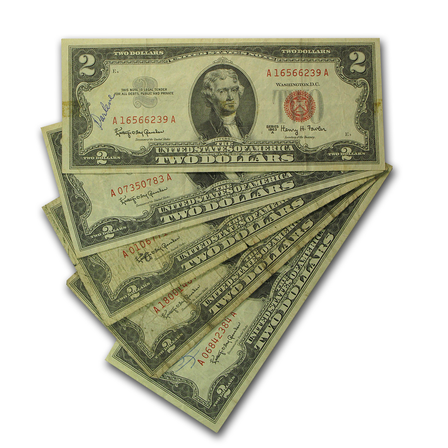 1963s $2.00 U.S. Note Red Seal Culls (Lots of 5)