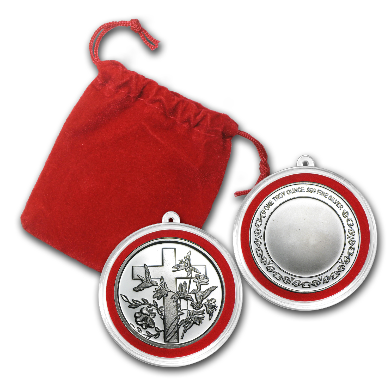 1 oz Silver Round - Religious Cross (w/Red Pouch & Cap)