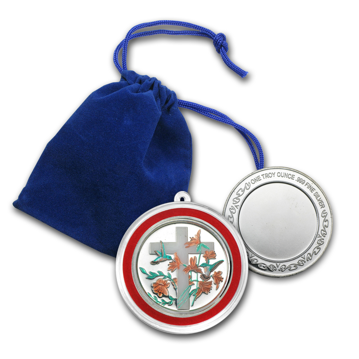 1 oz Silver Rnd - Religious Cross (Enameled, w/Blue Pouch & Cap)