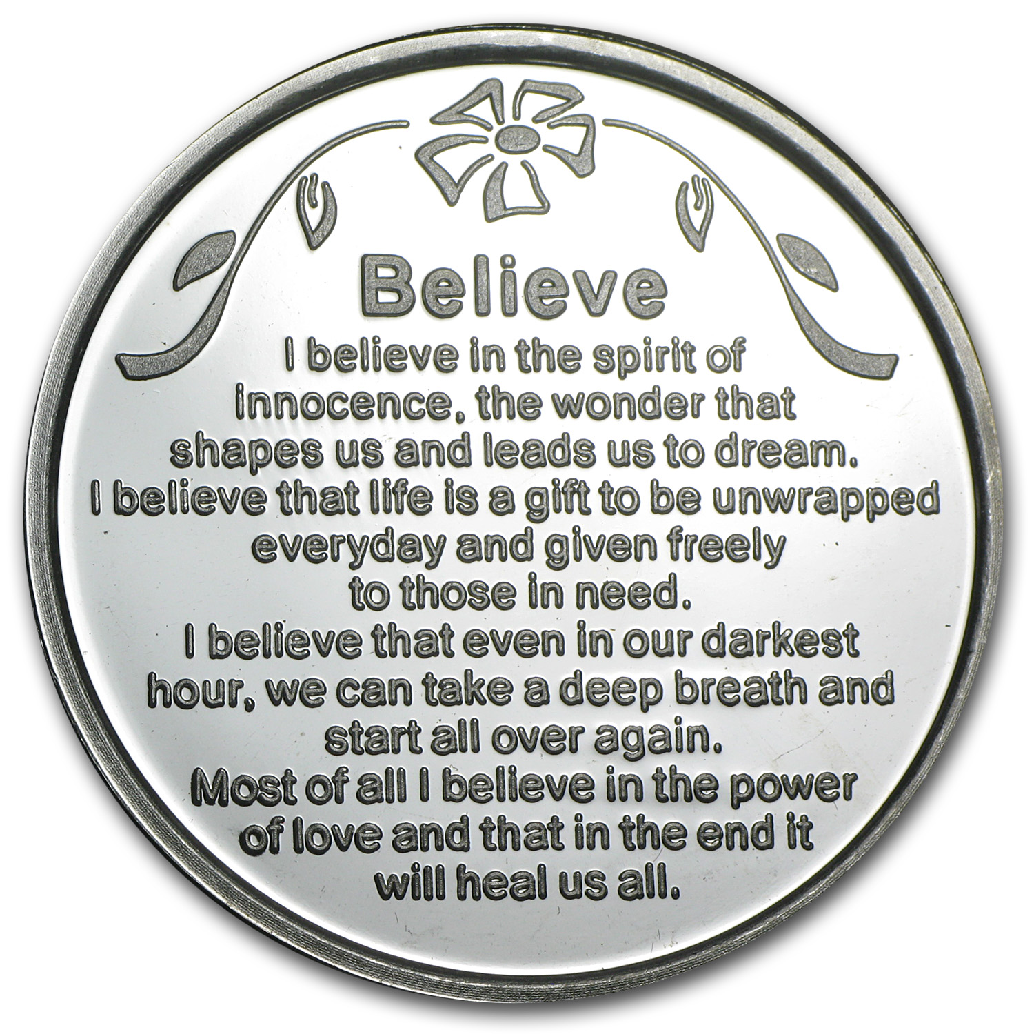 1 oz Silver Rounds - Believe (w/Red Pouch & Cap)