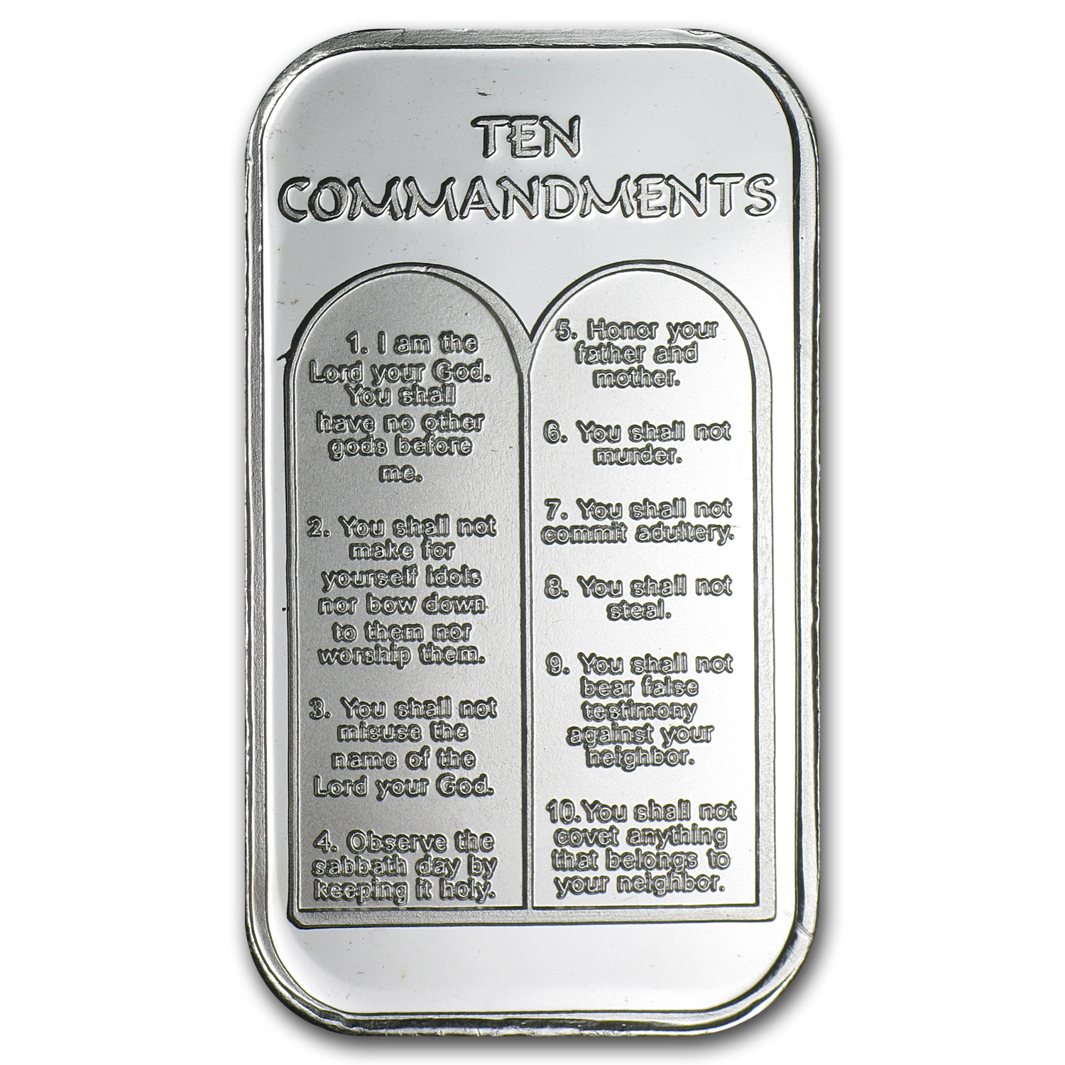1 oz Silver Bar - Ten Commandments (w/Green Pouch & Cap)