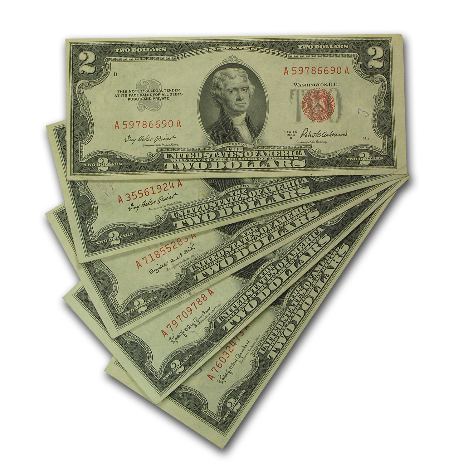 1953s $2.00 U.S. Notes Red Seal VG/VF (Lot of 5)