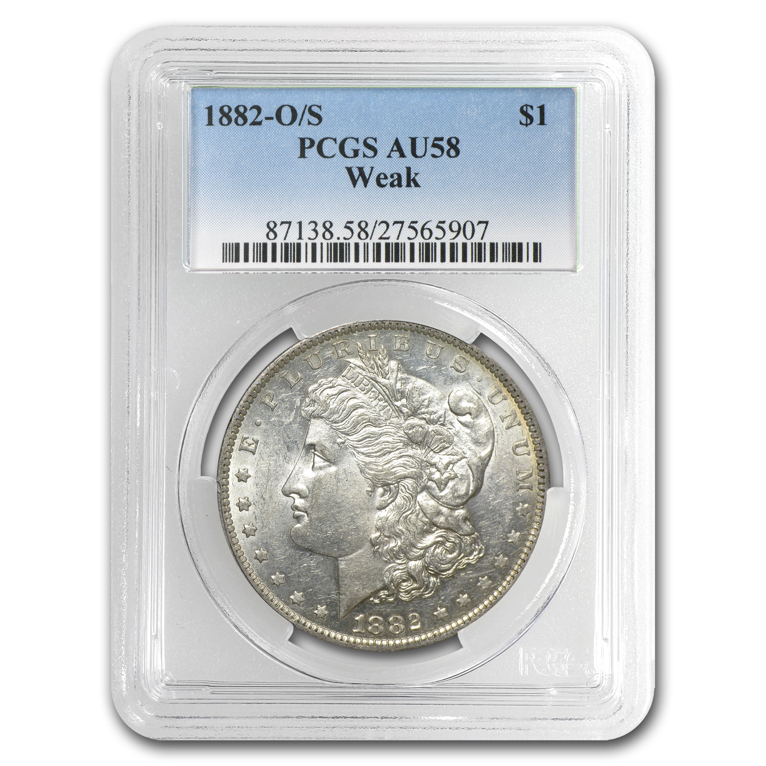 1882-O/S Morgan Dollar Weak AU-58 PCGS (VAM Top-100)
