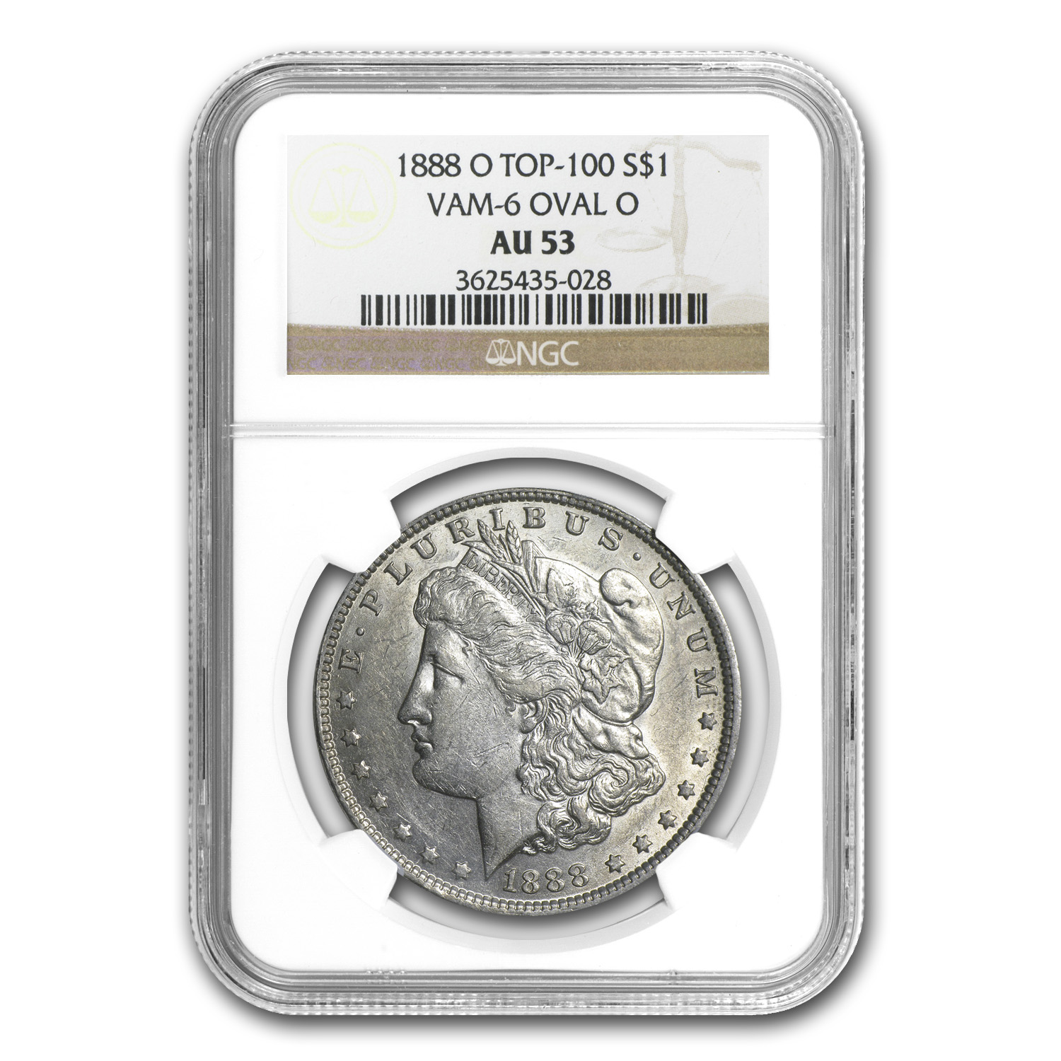1888-O AU-53 NGC (VAM-6, Oval O, Top-100)