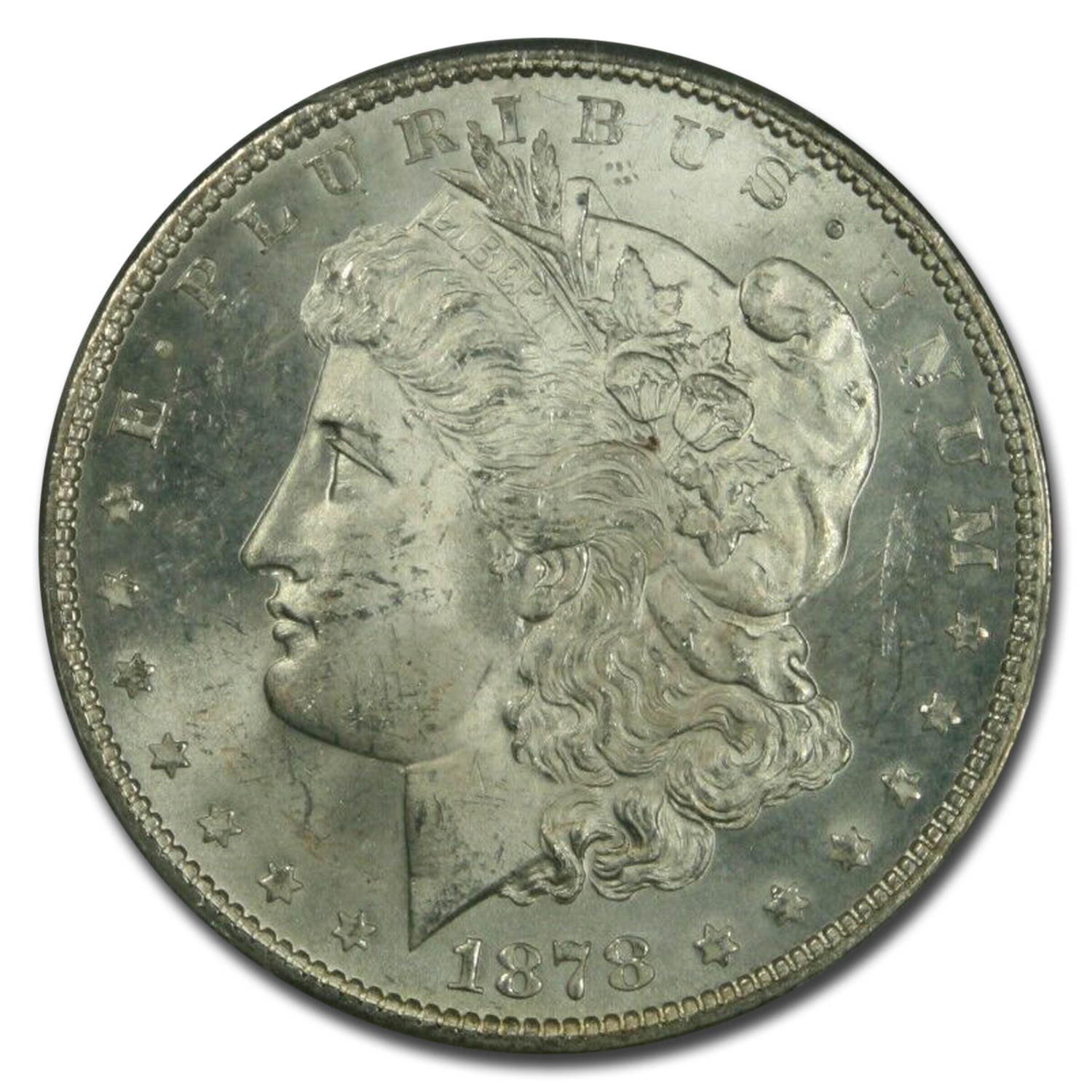 1878 Morgan Dollar - 7 TF Rev. of 78 MS-64+ Plus PCGS