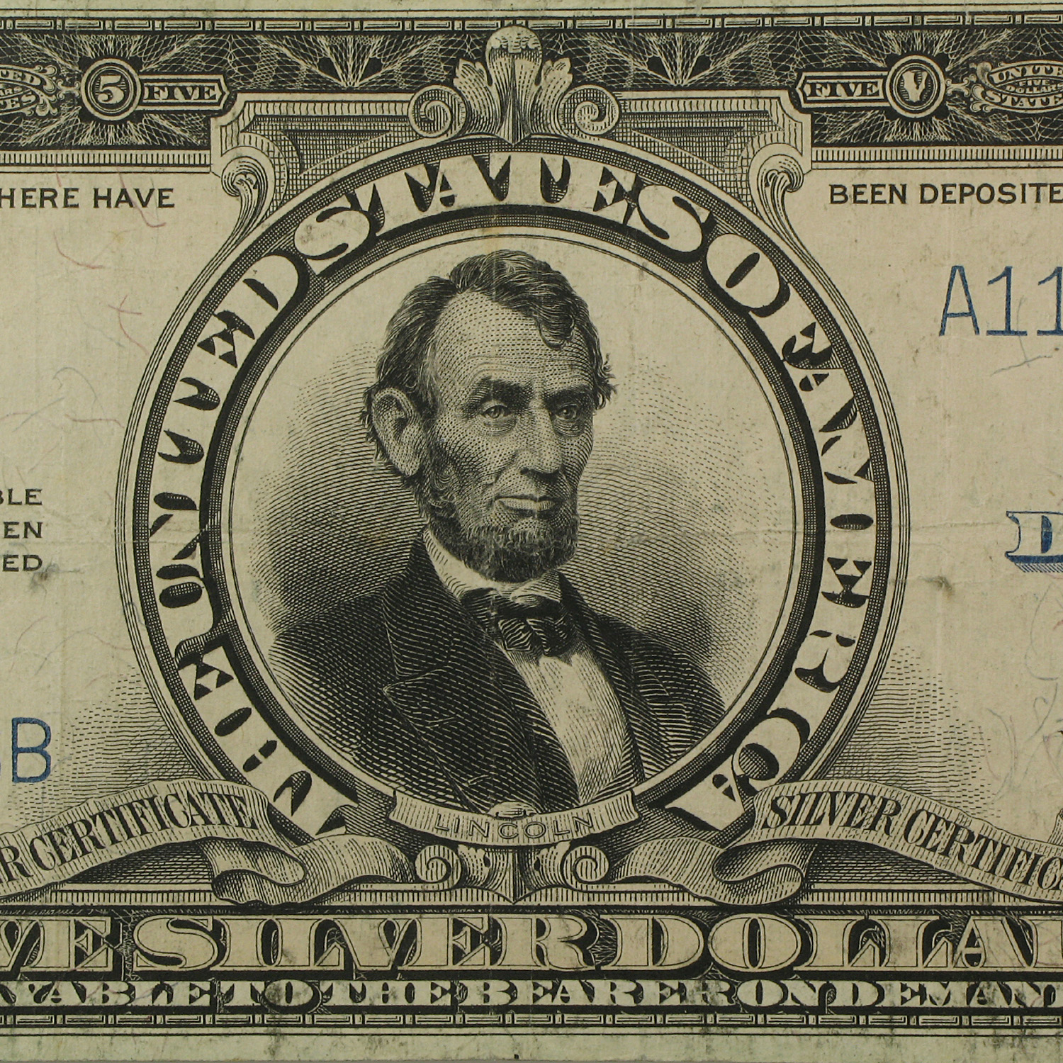 1923 $5.00 Silver Certificate Lincoln Porthole VF-25 PMG