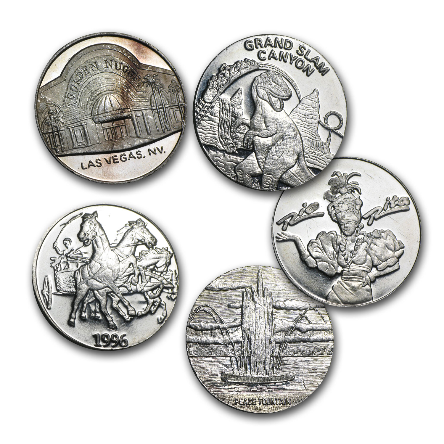 1/2 oz Silver Rounds - Gaming/Casino Token Knockouts
