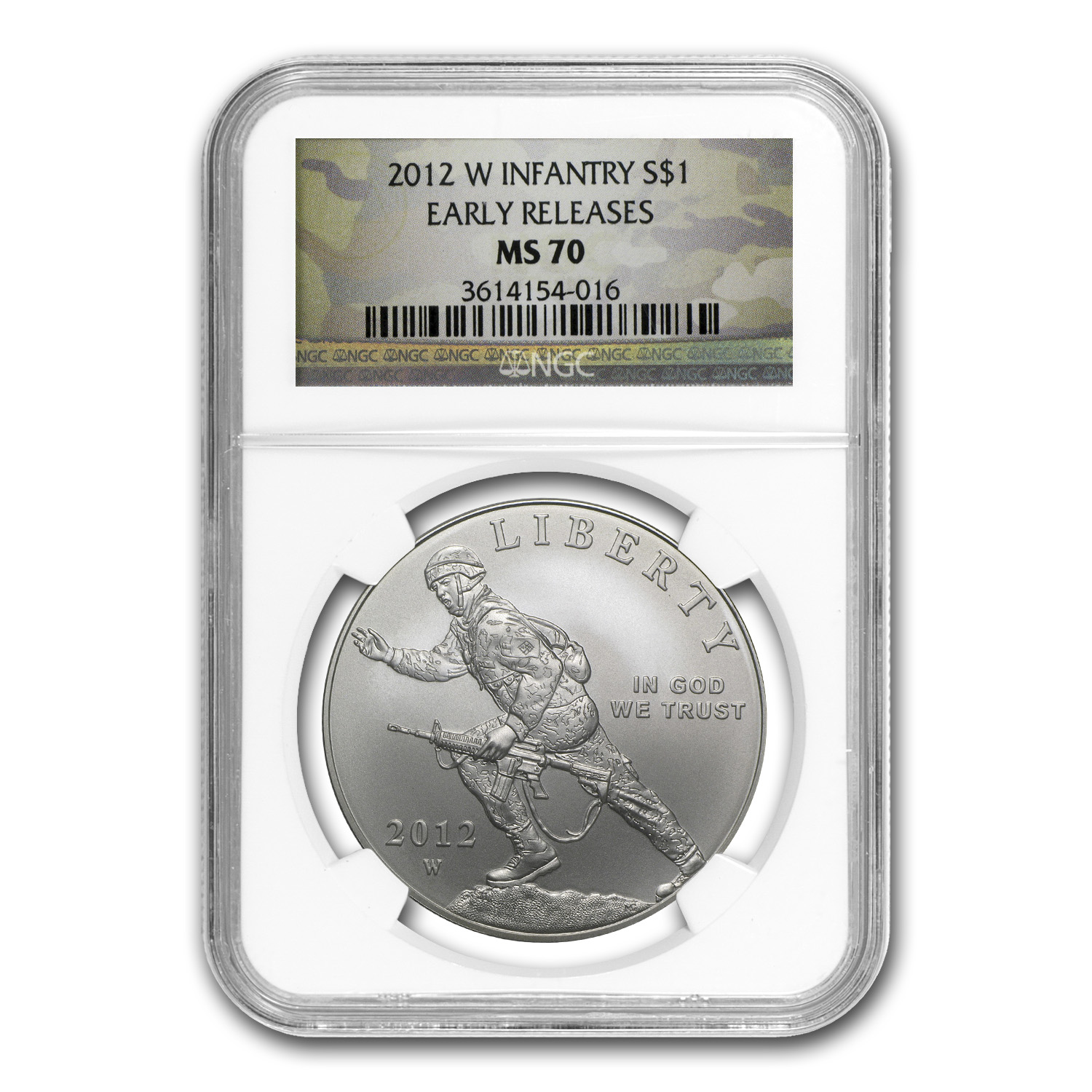 2012-W Infantry Soldier $1 Silver Commemorative MS-70 NGC