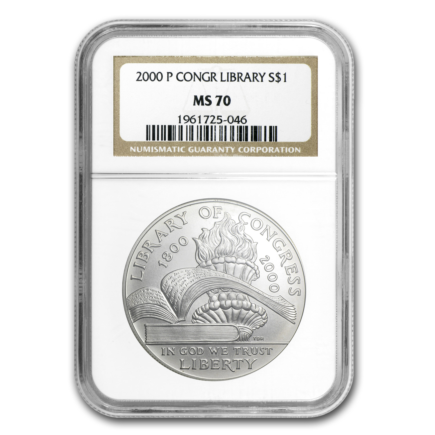 2000-P Library of Congress $1 Silver Commem MS-70 NGC