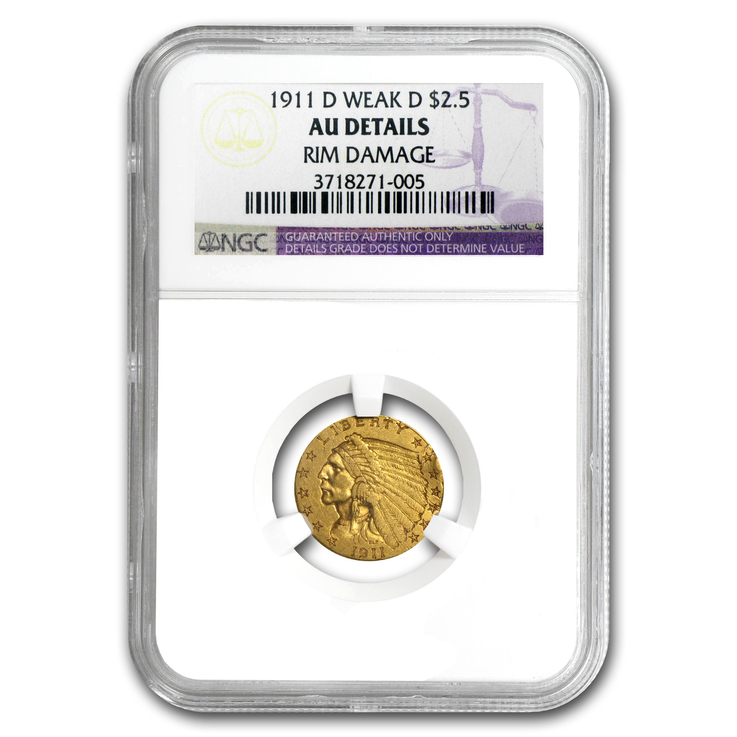 1911-D $2.50 Indian Gold Quarter Eagle - Weak-D - AU Details NGC