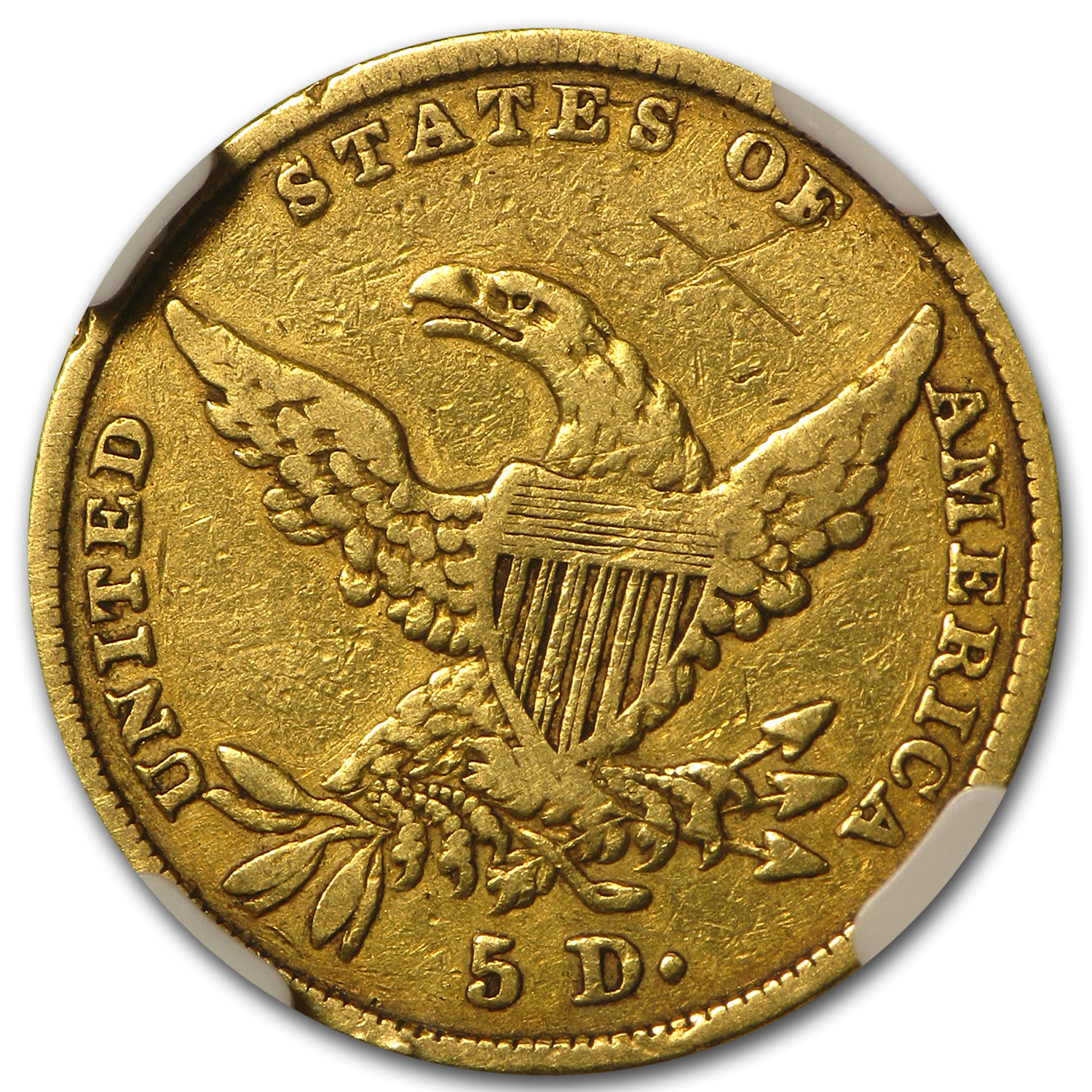 1835 $5 Gold Classic Head Half Eagle VF Details NGC