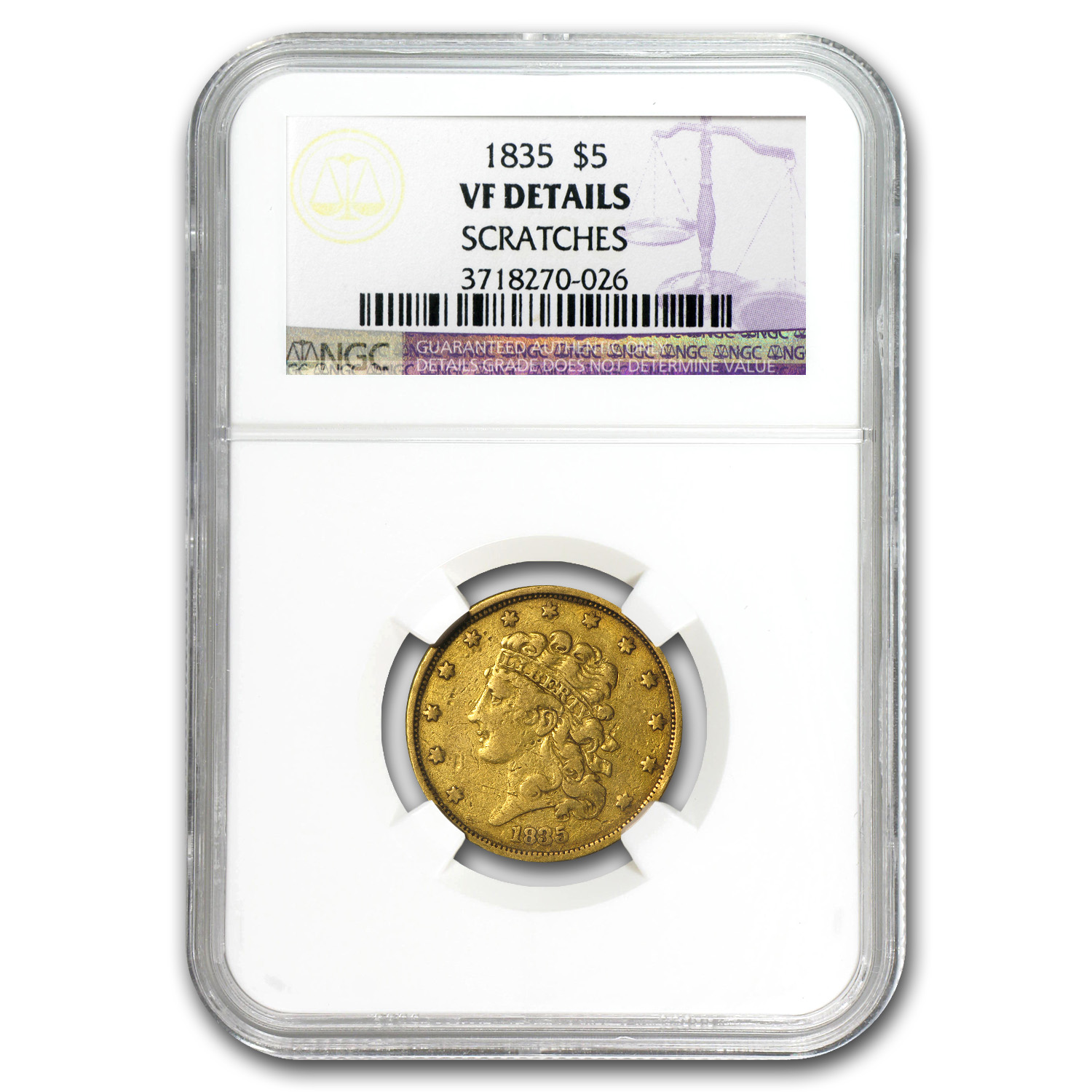 1835 $5 Gold Classic Head Half Eagle - VF Details NGC
