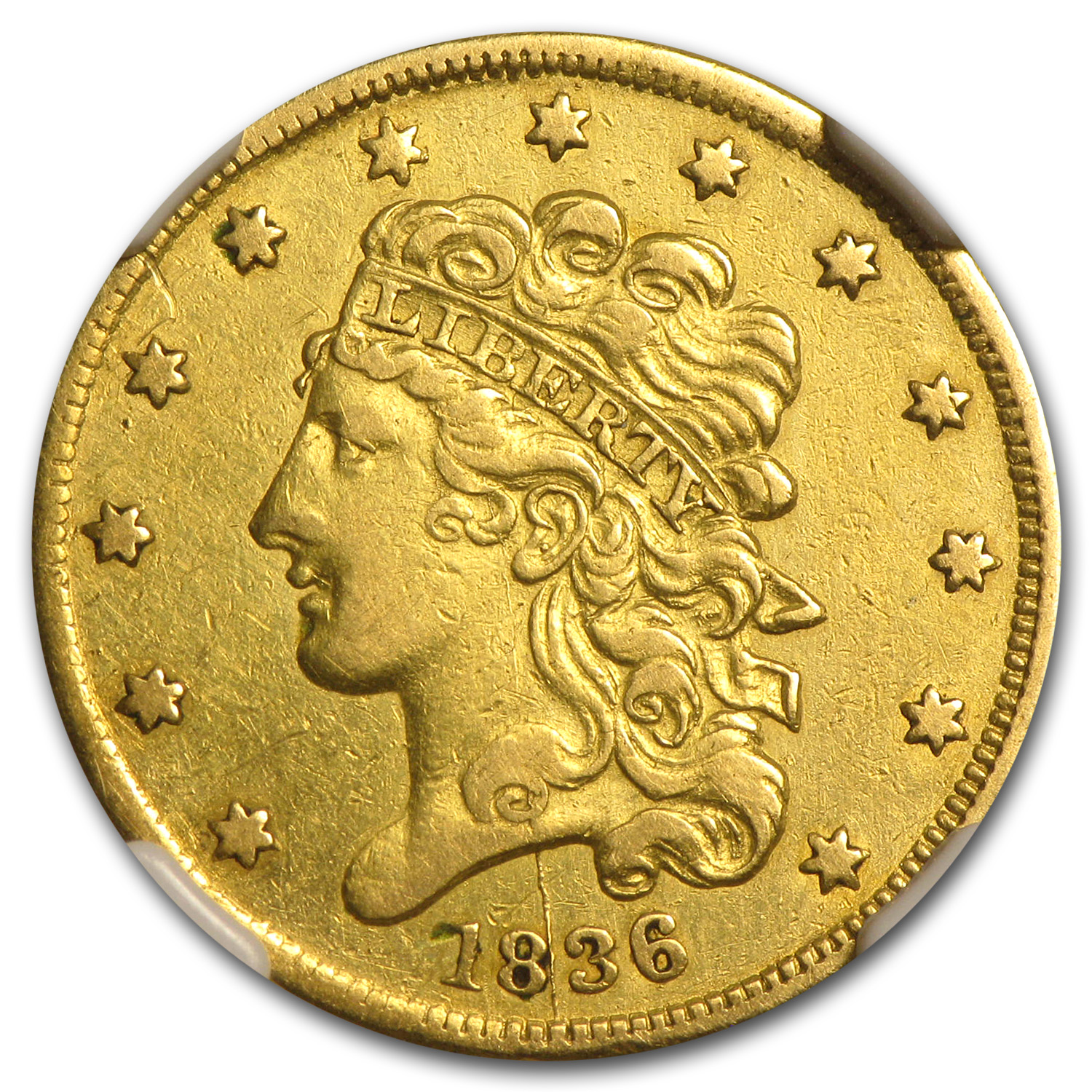 1836 $5 Gold Classic Head Half Eagle AU Details NGC (Cleaned)