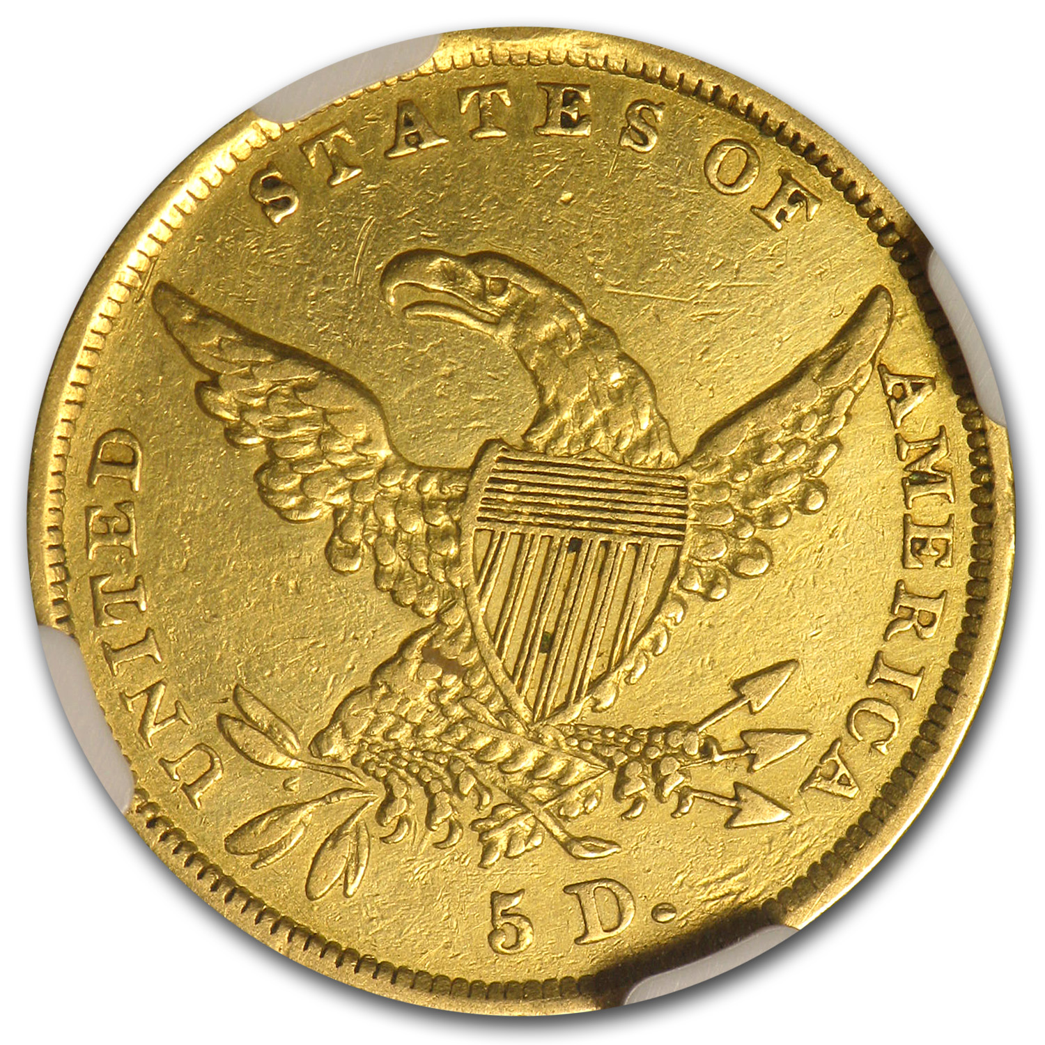 1836 $5 Gold Classic Head Half Eagle - AU Details NGC - (Cleaned)