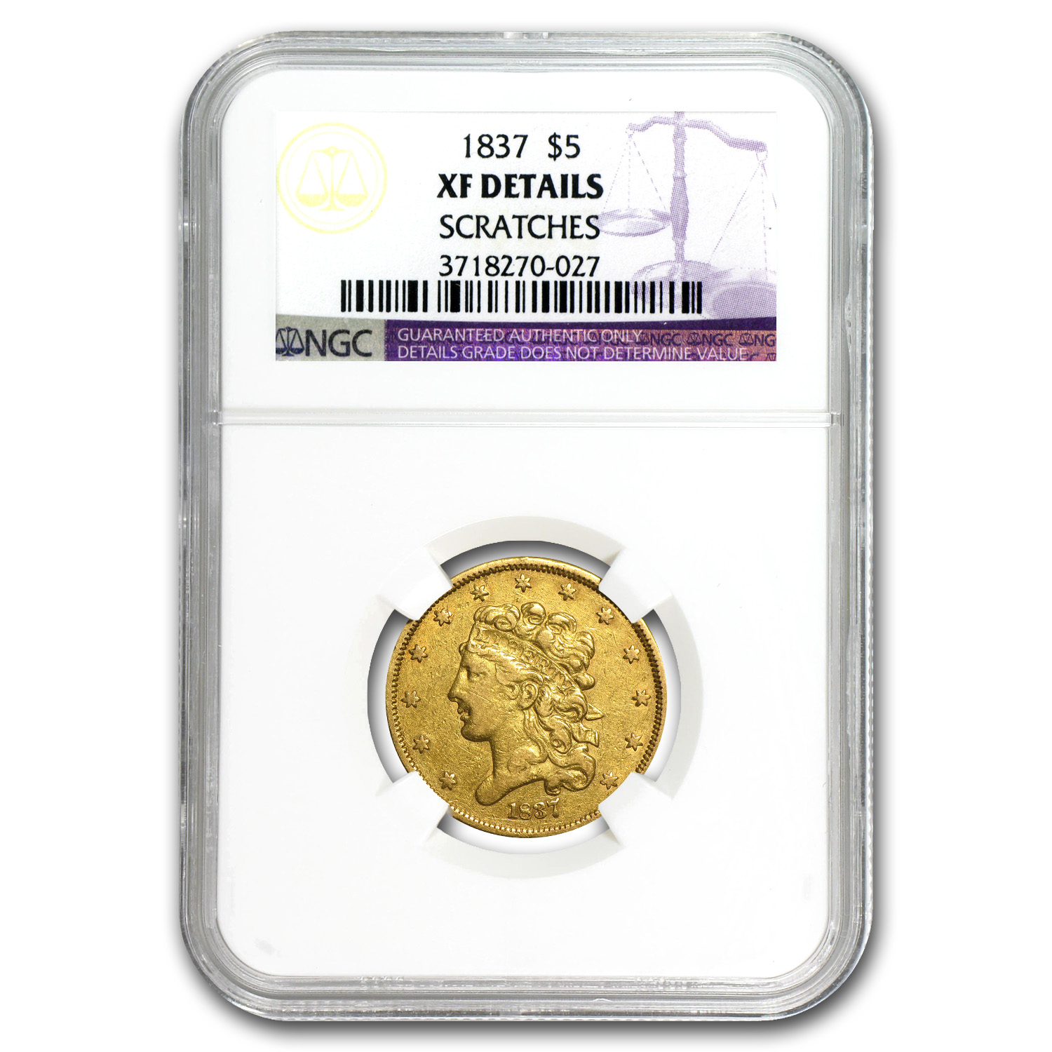 1837 $5 Gold Classic Head Half Eagle XF Details NGC (Scratch)