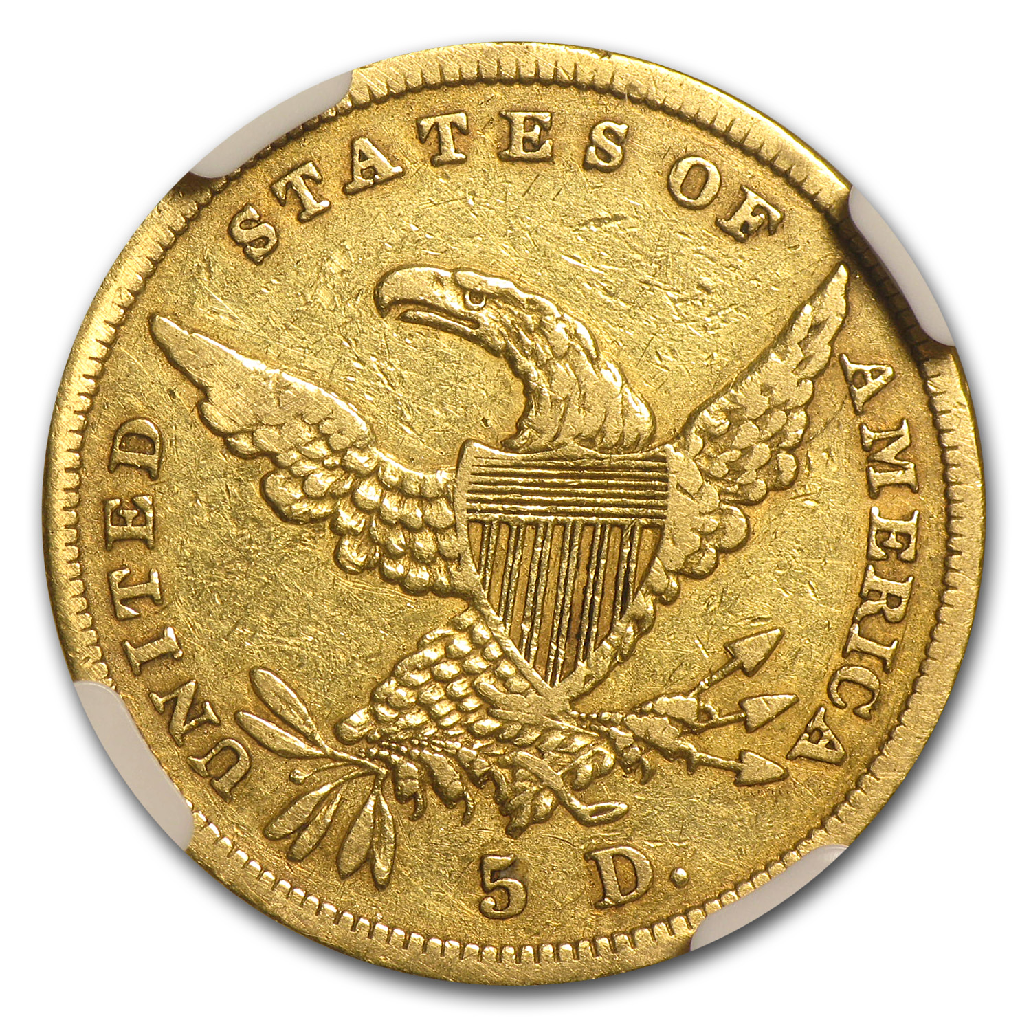 1838 $5 Gold Classic Head Half Eagle XF Details NGC (Graffiti)