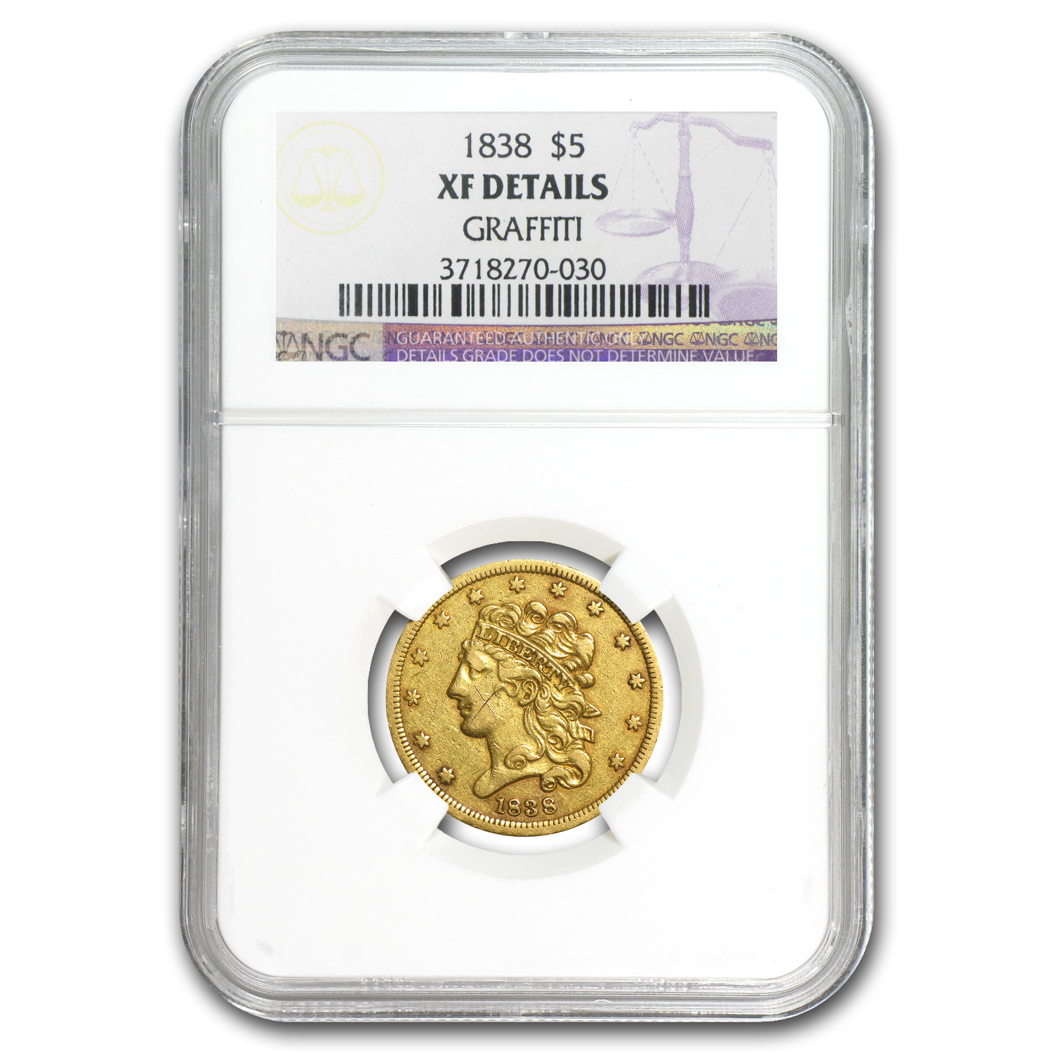 1838 $5 Gold Classic Head Half Eagle - XF Detail NGC - (Graffiti)