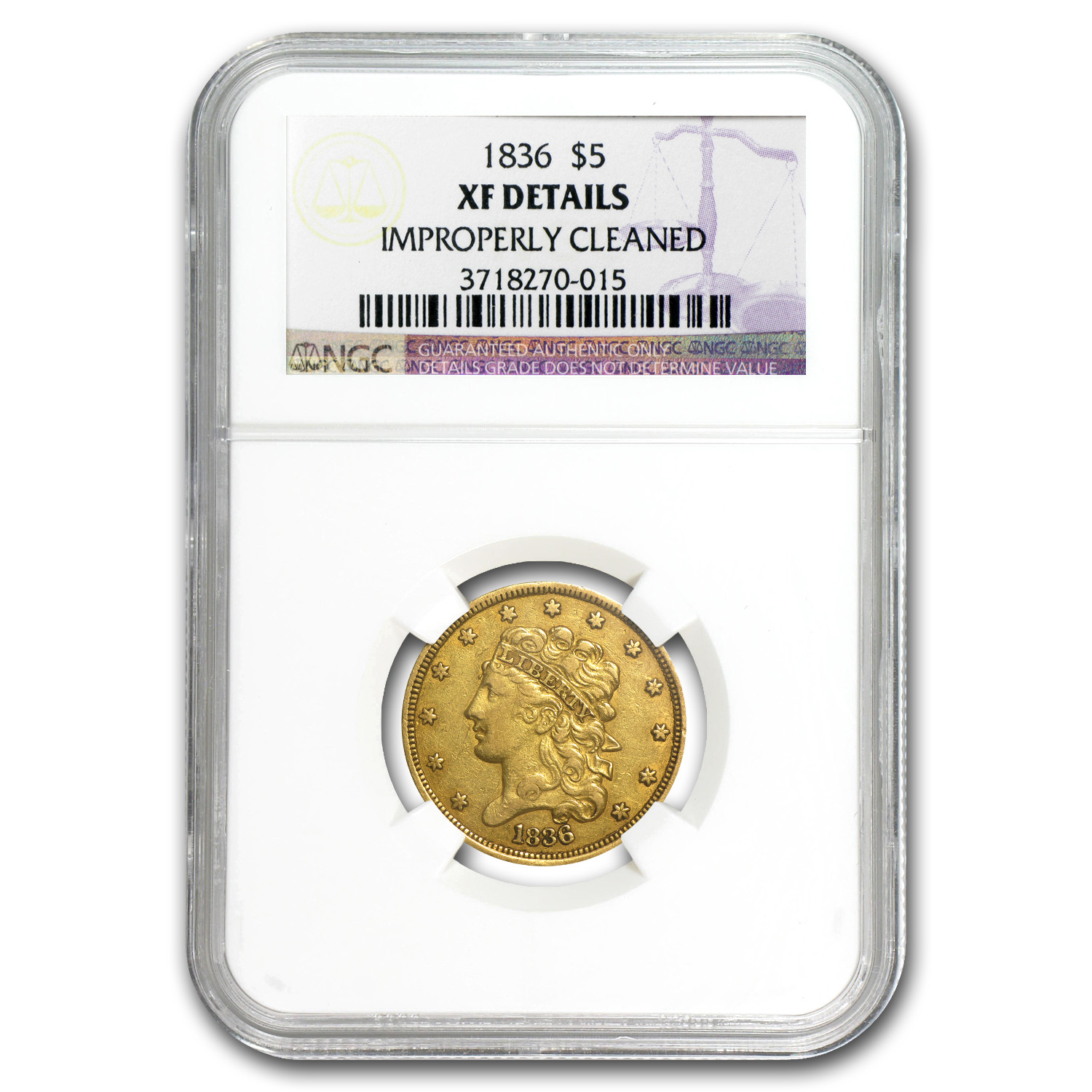 1836 $5 Gold Classic Head Half Eagle XF Details NGC (Cleaned)