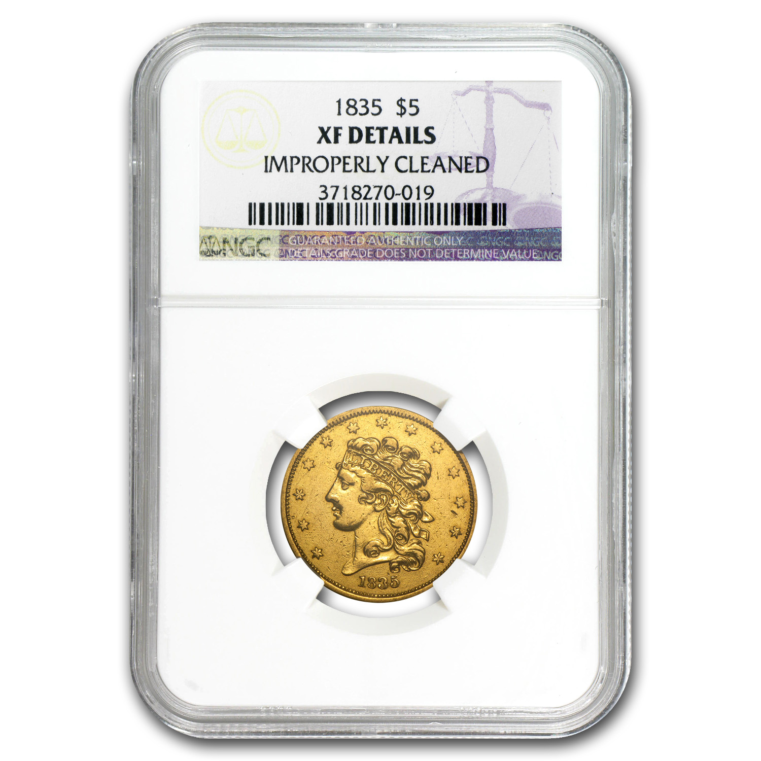 1835 $5 Gold Classic Head Half Eagle - XF Details NGC - (Cleaned)