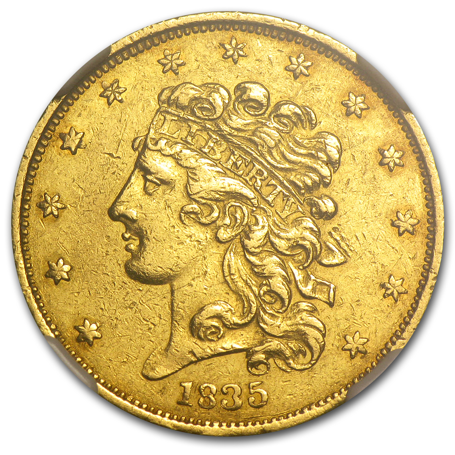 1835 $5 Gold Classic Head Half Eagle AU Details NGC (Cleaned)